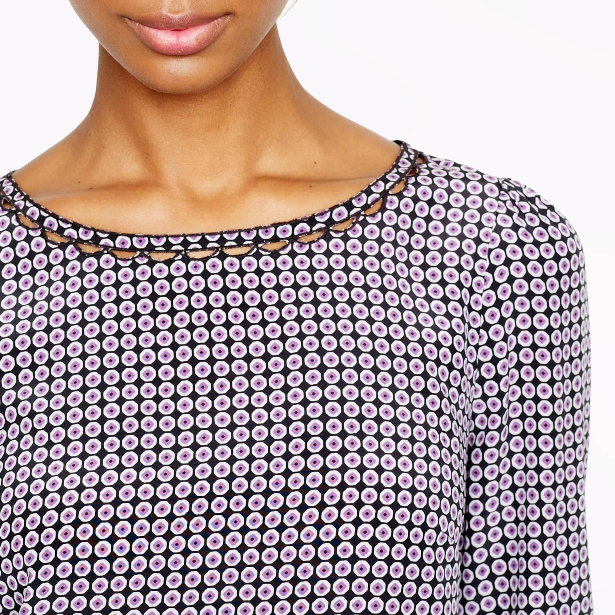 Petite scalloped cutout silk top in octagonal dot
