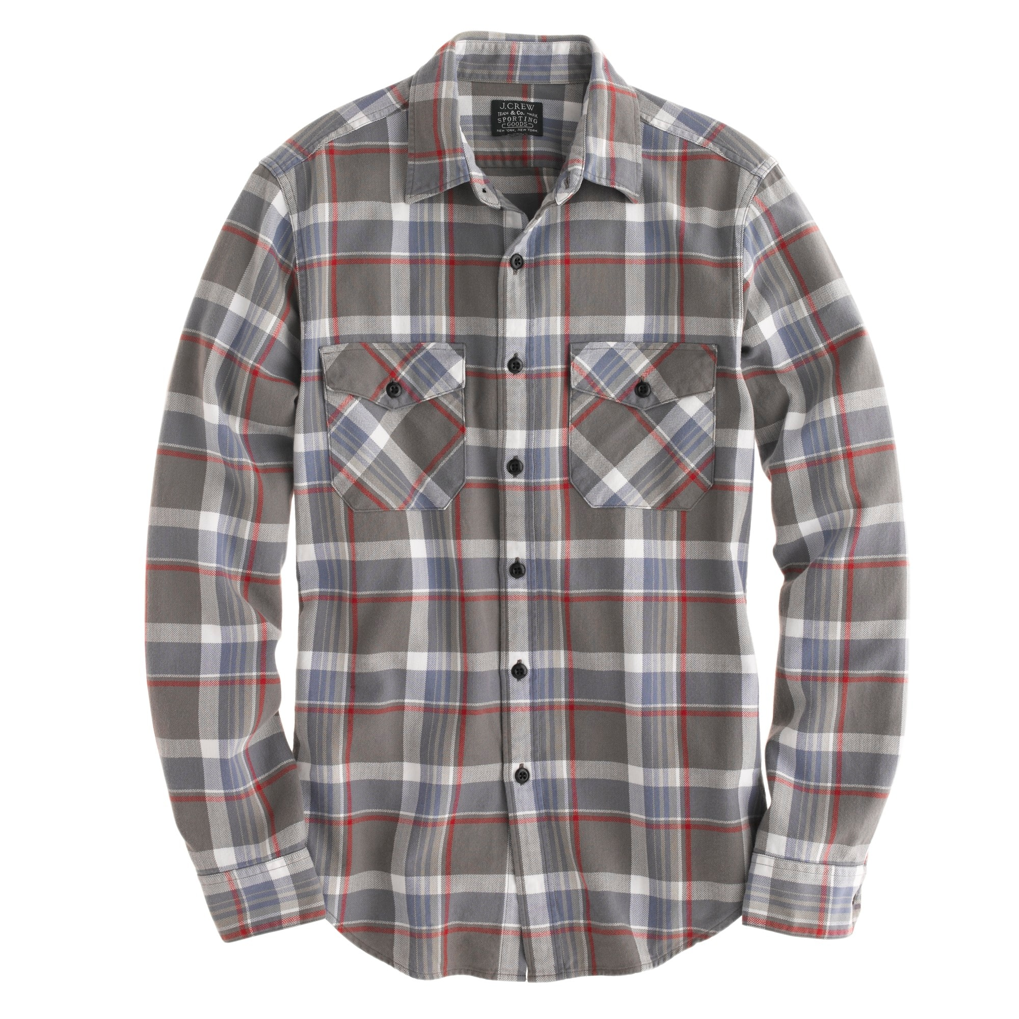 Flannel shirt in wet gravel herringbone plaid
