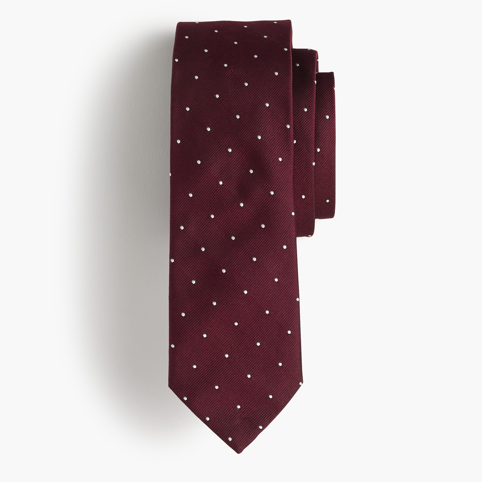 Silk tie in white dot