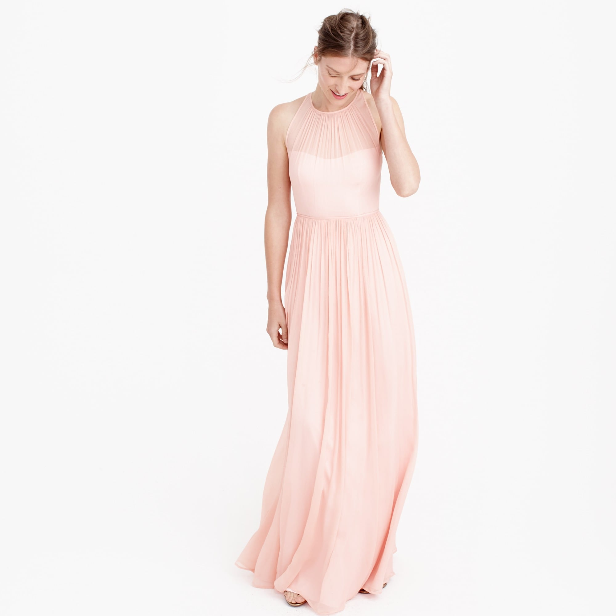 Megan long dress in silk chiffon