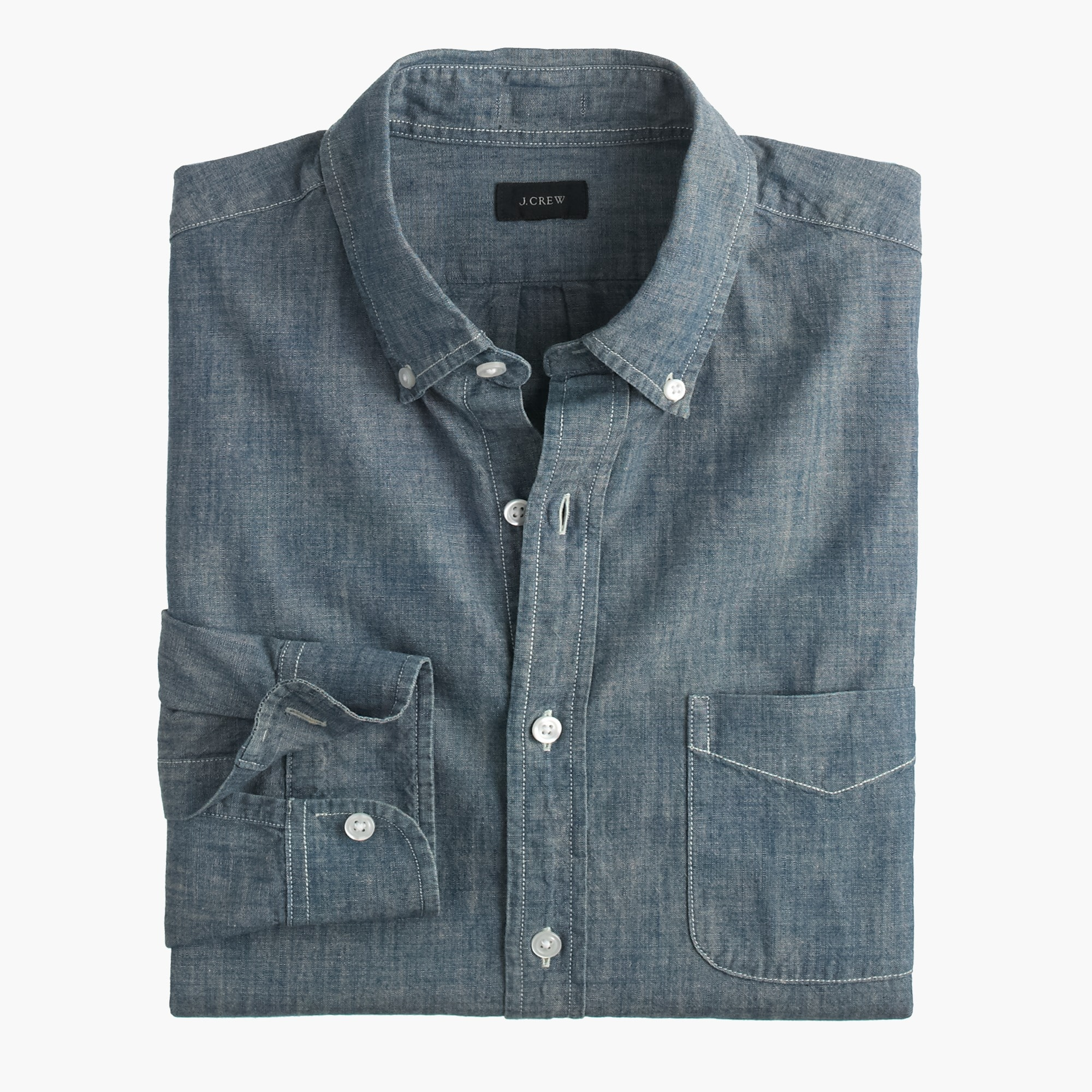 mens Slim indigo Japanese chambray shirt