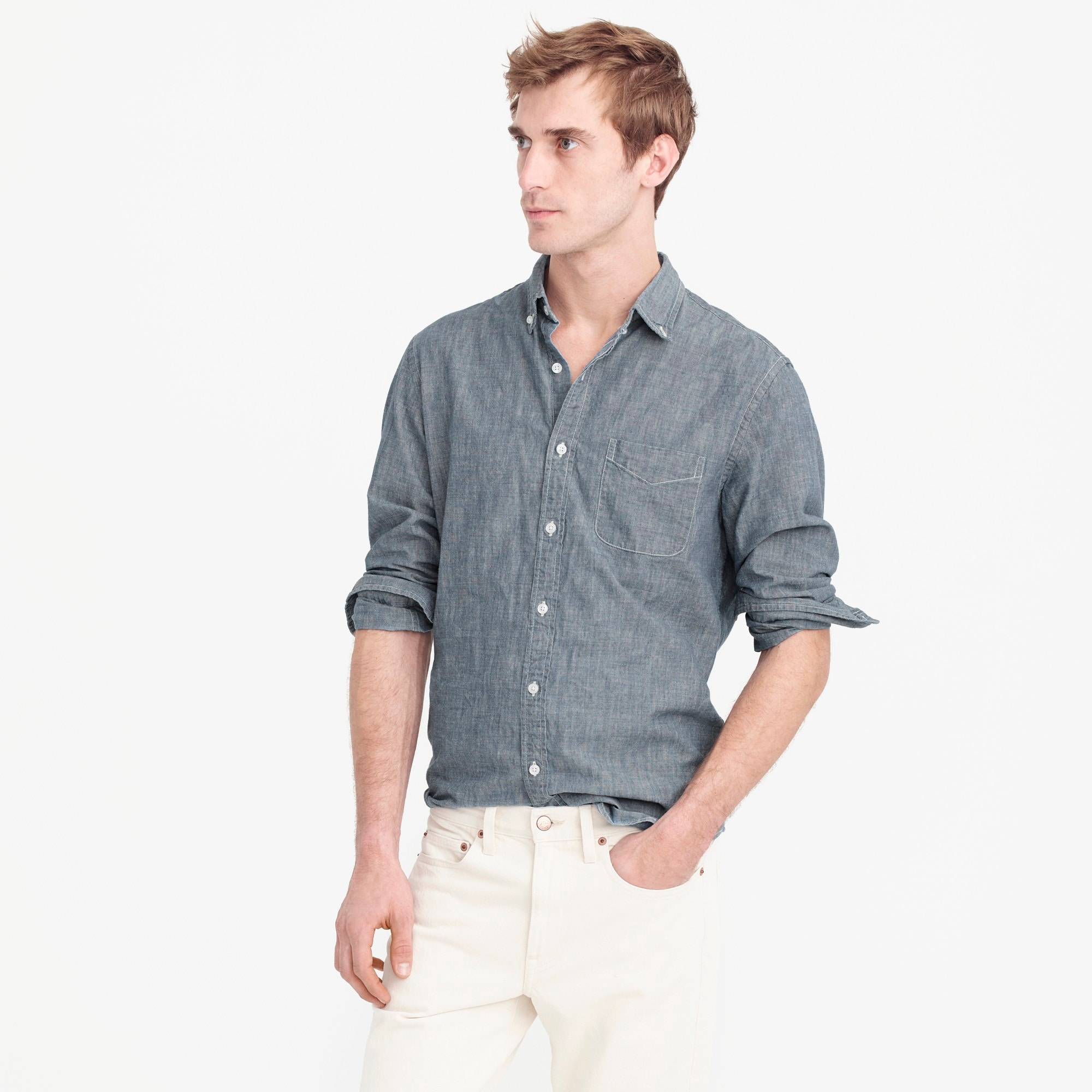 men's slim indigo japanese chambray shirt - men's shirts