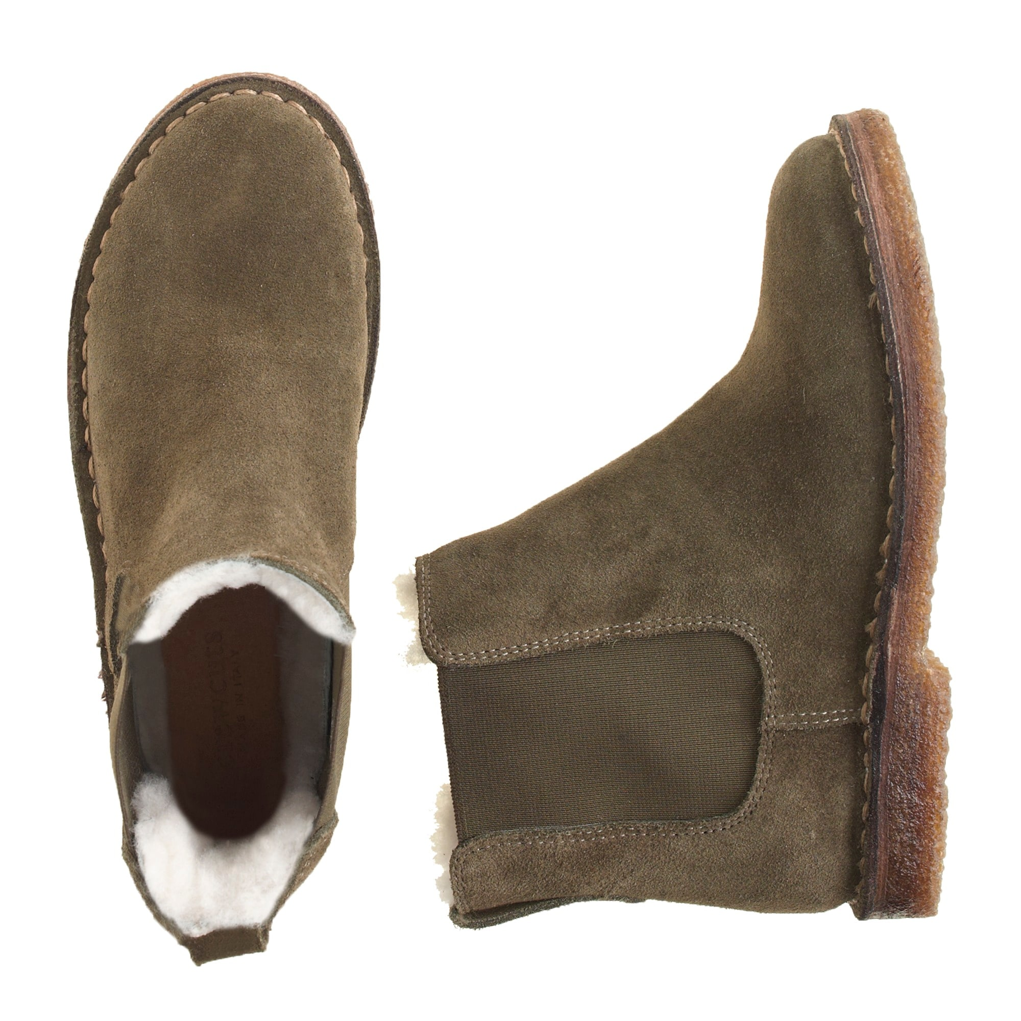 Image 1 for Boys' suede shearling-lined Chelsea boots