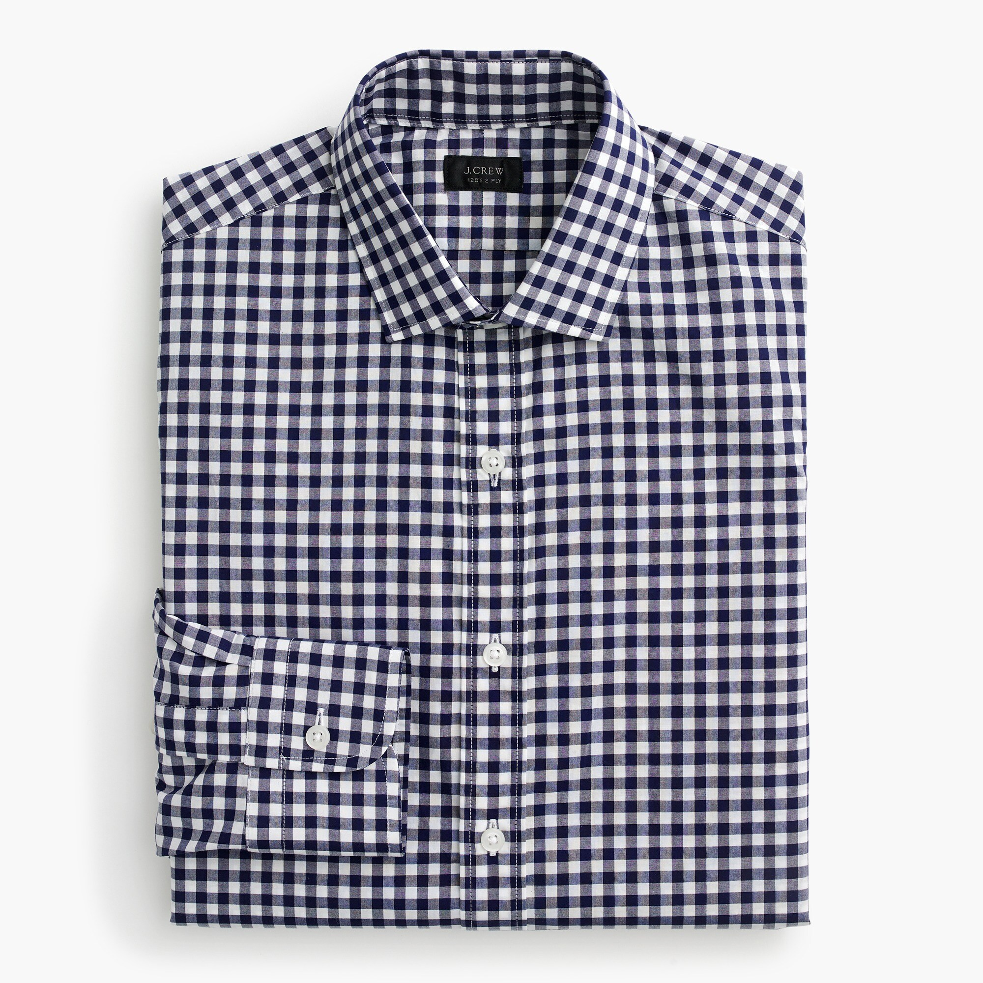 Ludlow Slim-fit spread-collar shirt in navy gingham