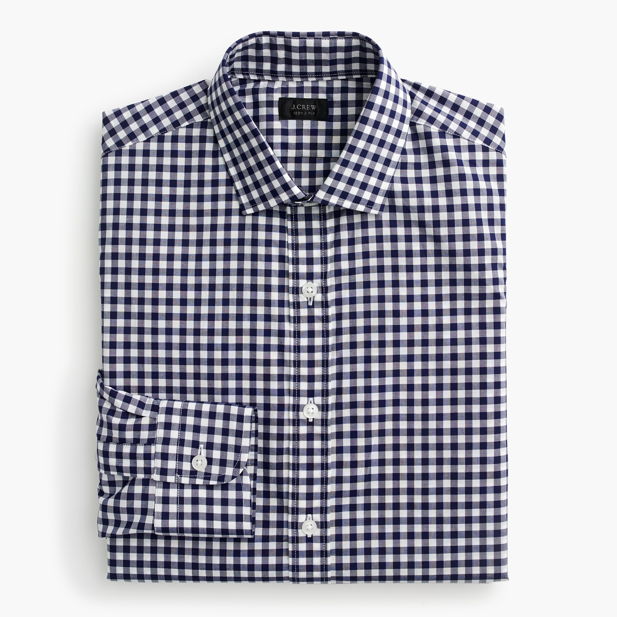 ludlow spread-collar shirt in navy gingham : men's shirts