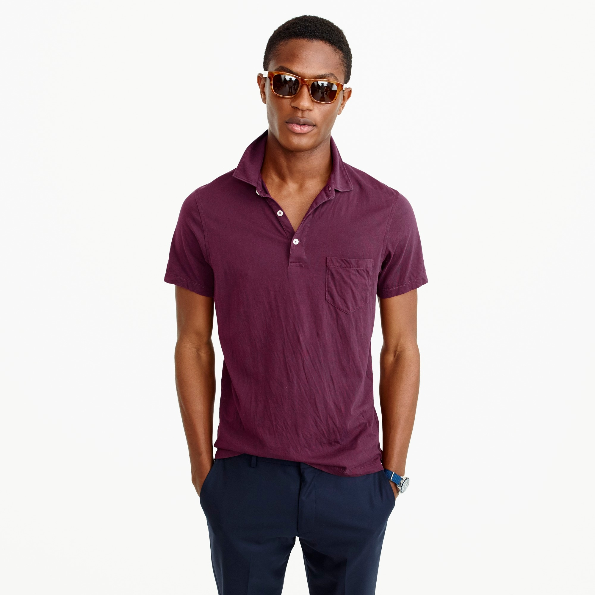 tall broken-in pocket polo shirt : men's polo shirts