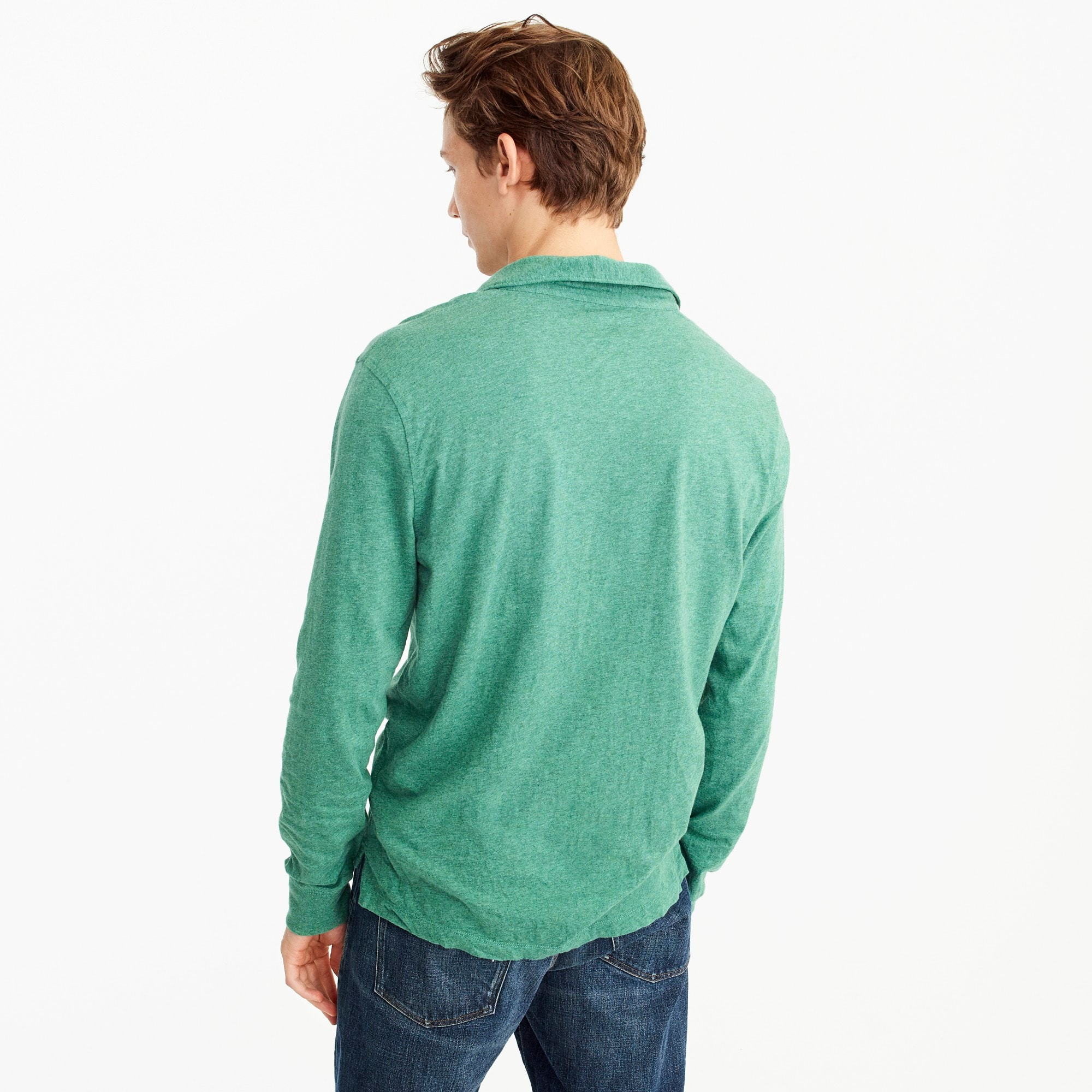 Image 2 for Tall broken-in long-sleeve pocket polo shirt