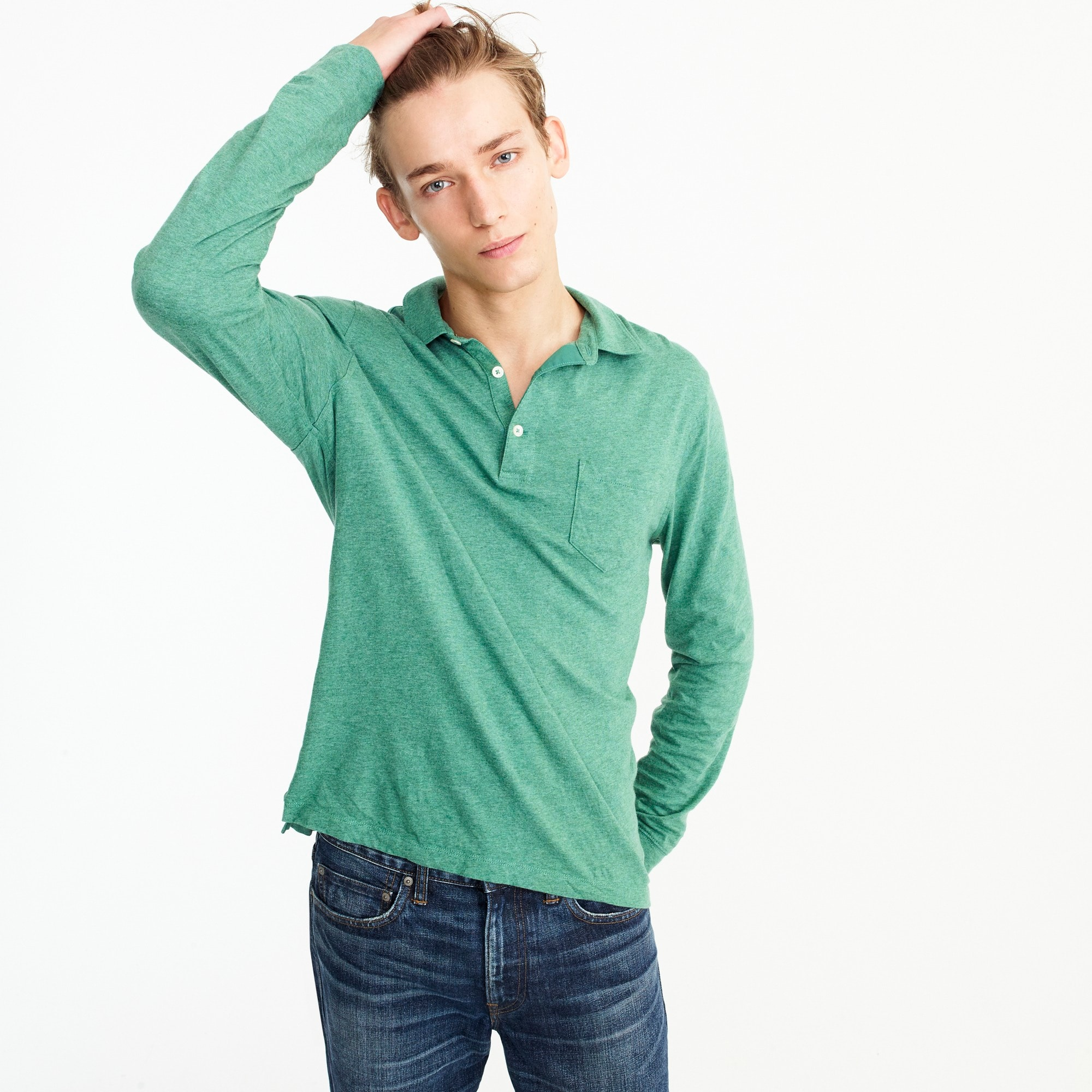 men's tall broken-in long-sleeve pocket polo shirt - men's knits