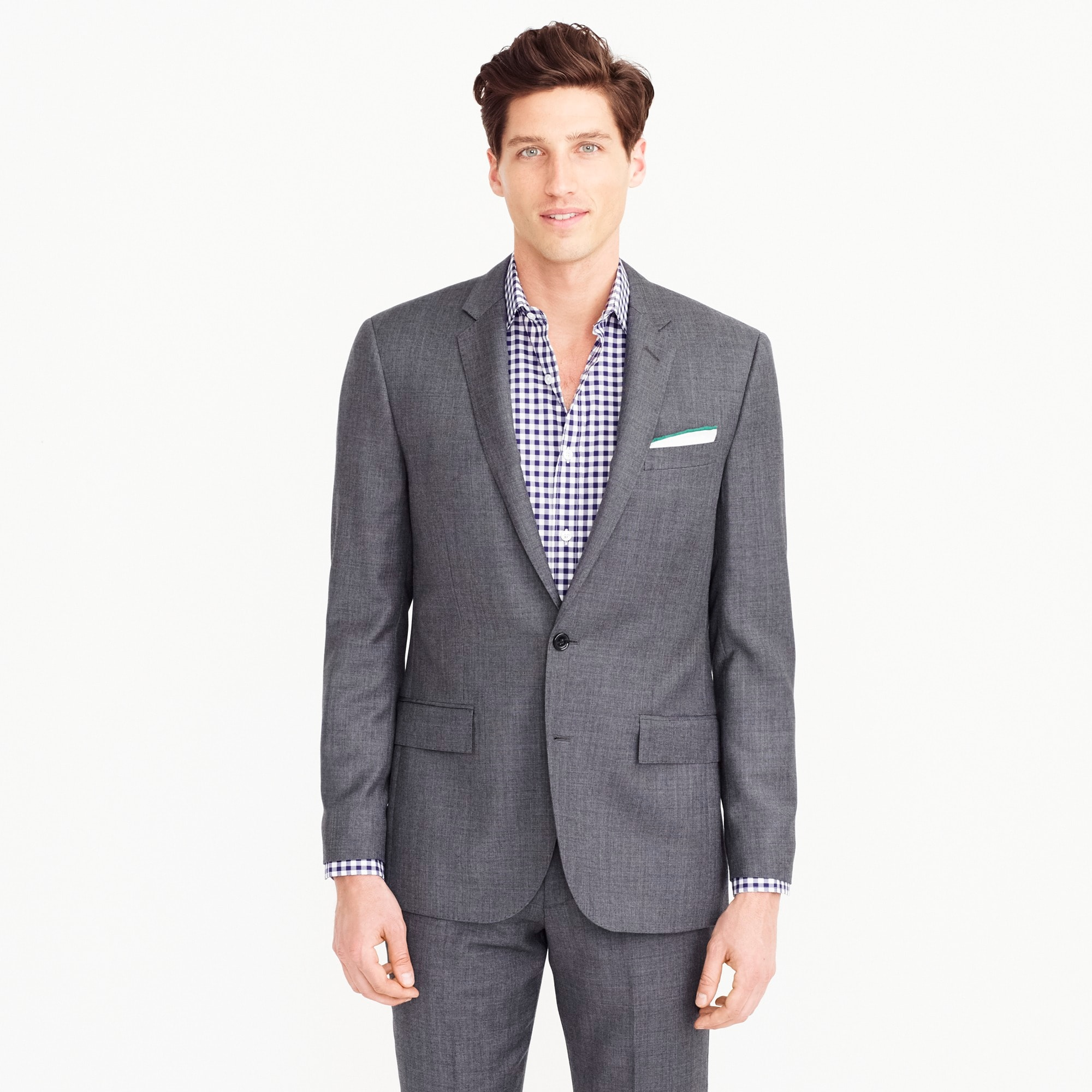 Ludlow suit jacket with double vent in Italian worsted wool