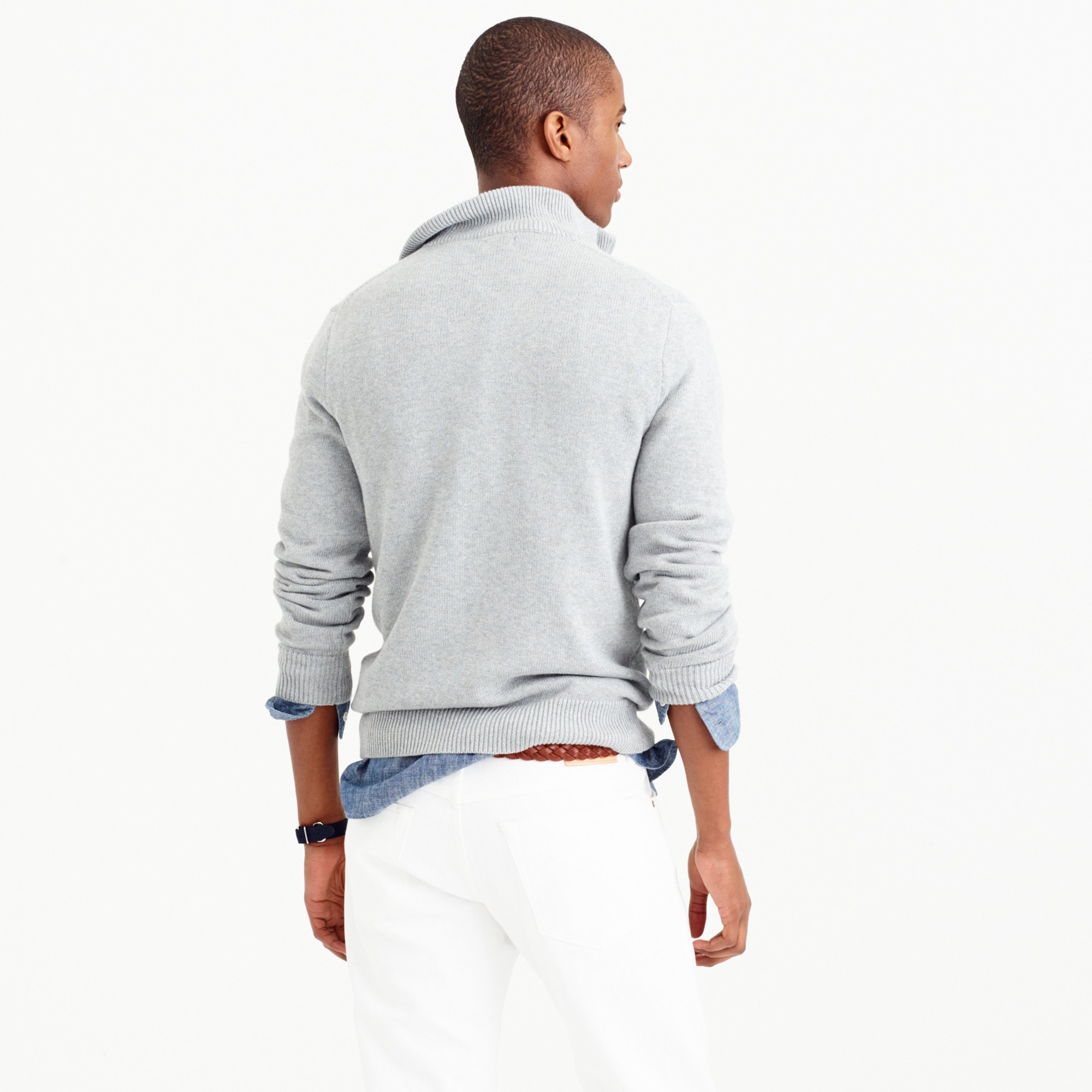 Tall cotton-cashmere half-zip sweater