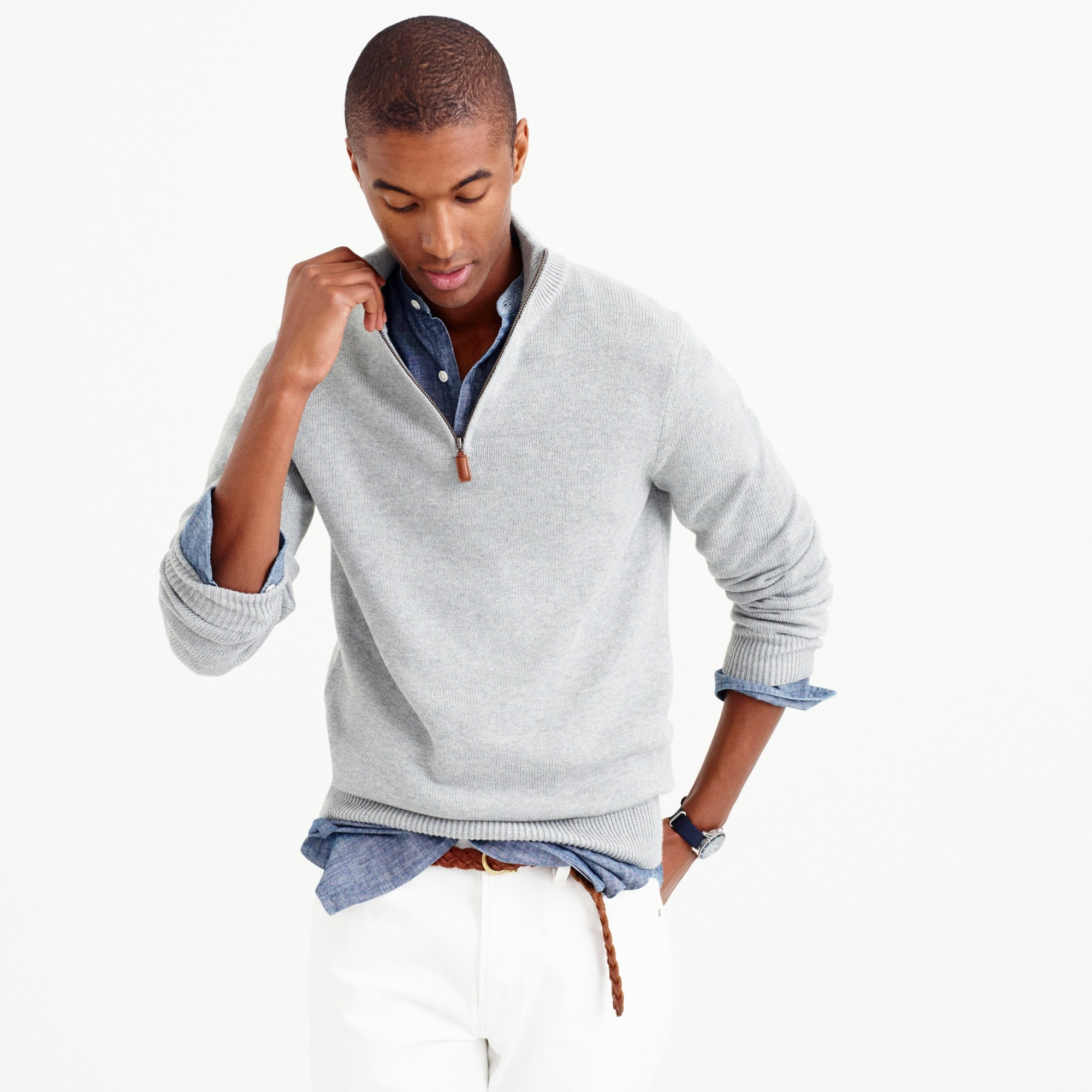 Image 1 for Slim cotton-cashmere half-zip sweater