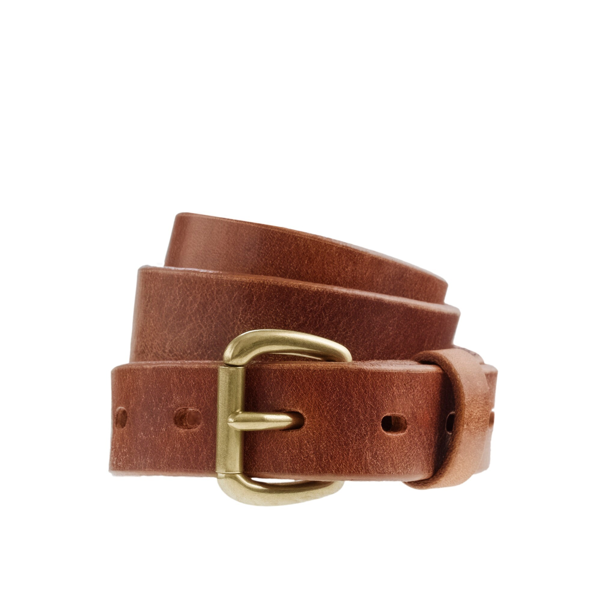 Leather denim belt