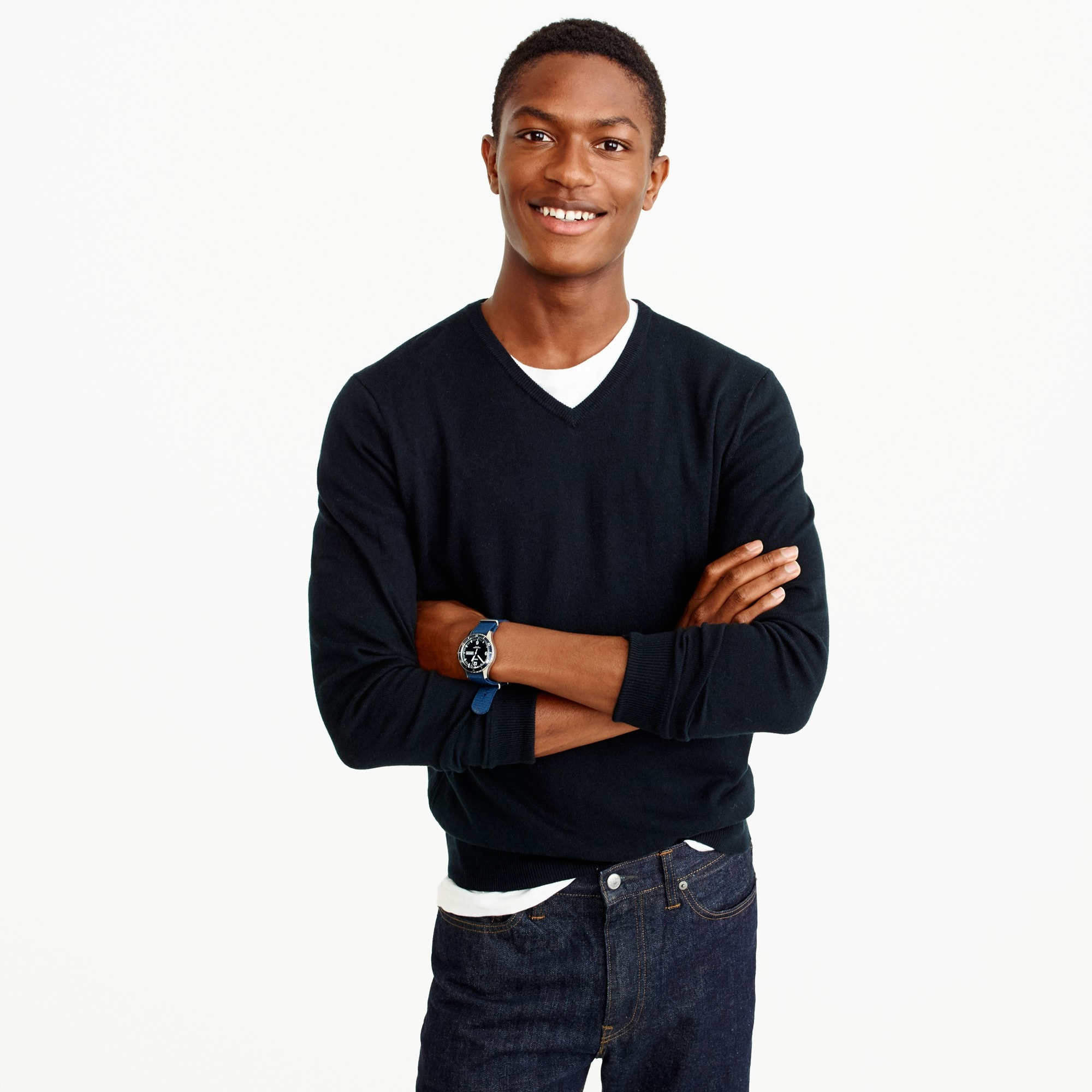 slim cotton-cashmere v-neck sweater : men's sweaters