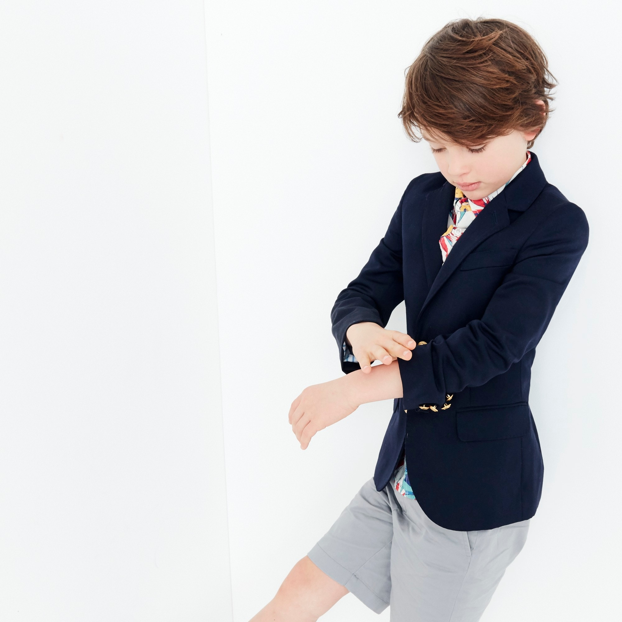 boys Boys' Ludlow two-button blazer in navy wool