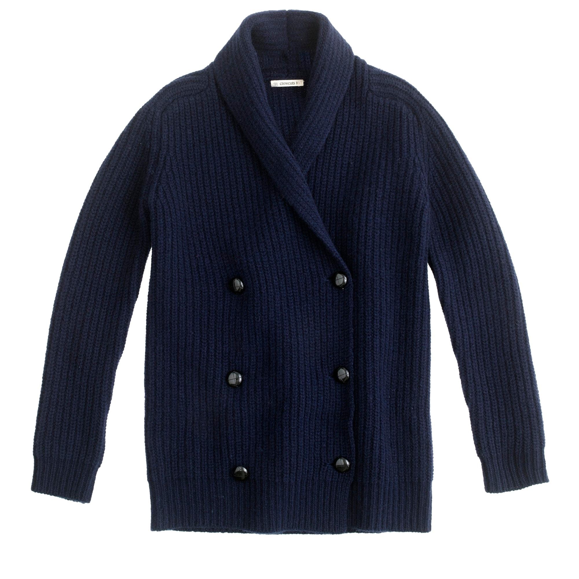 Girls' shawl-collar sweater-jacket