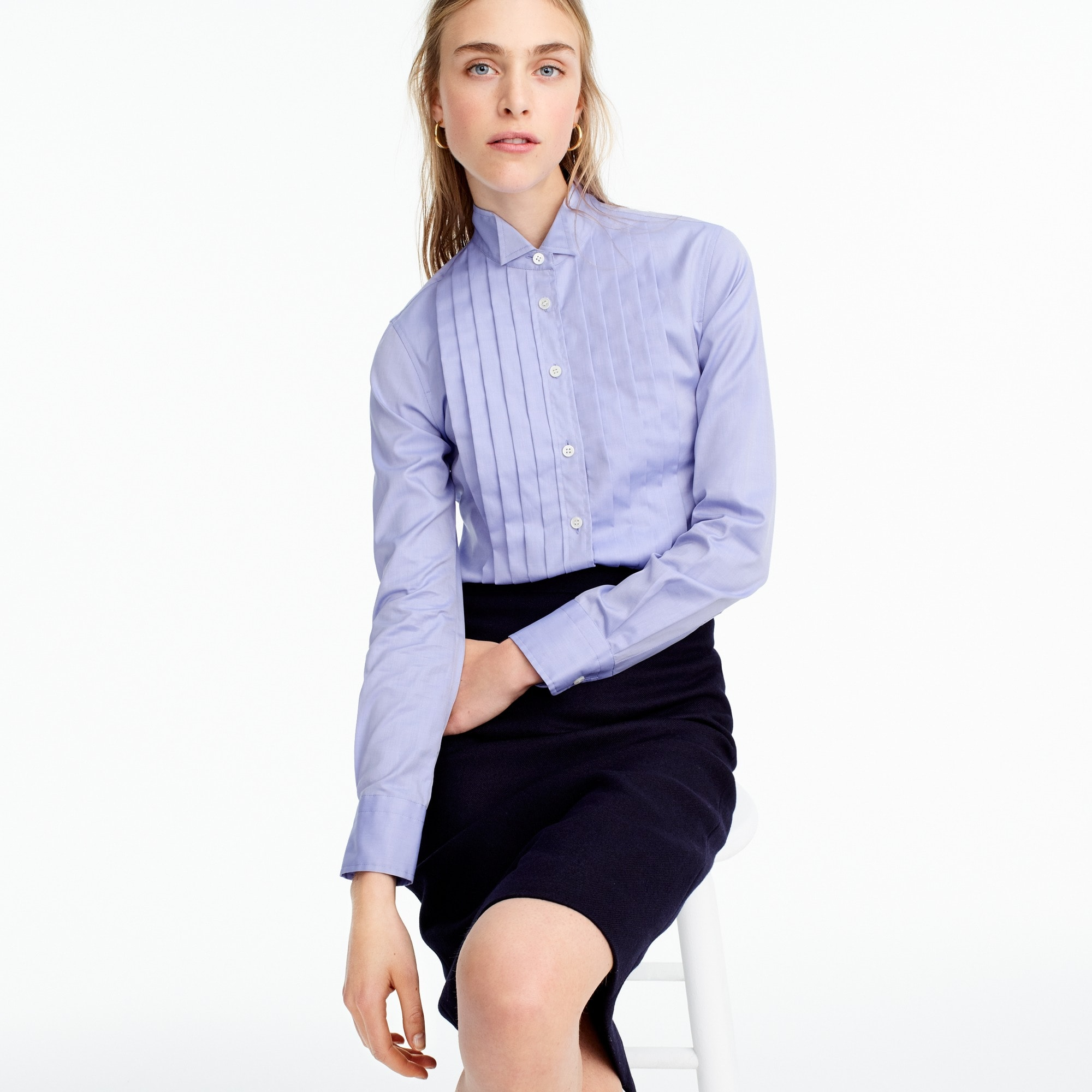 Thomas Mason® for J.Crew tuxedo shirt in blue women size 16 c