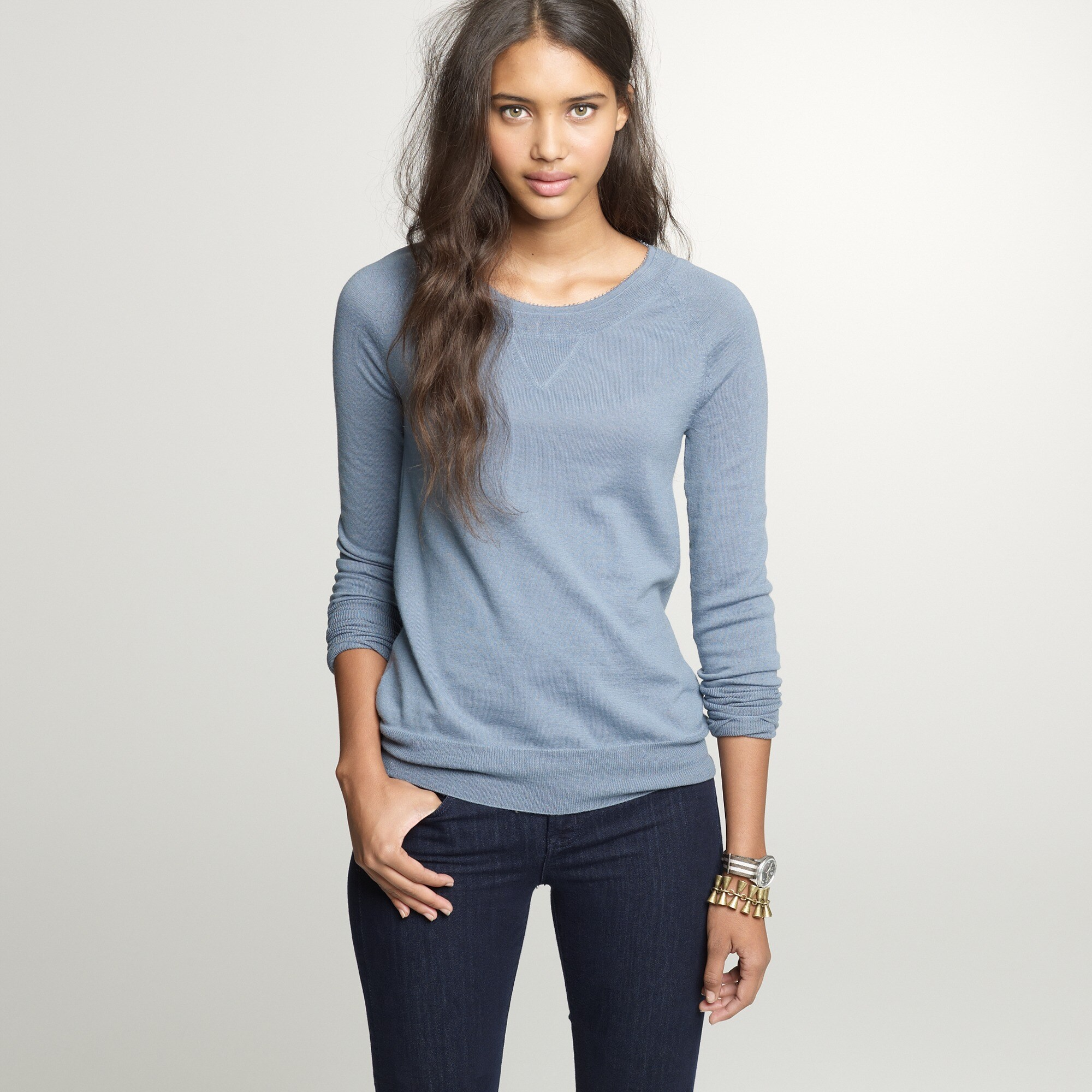 merino beaded boyfriend sweatshirt :