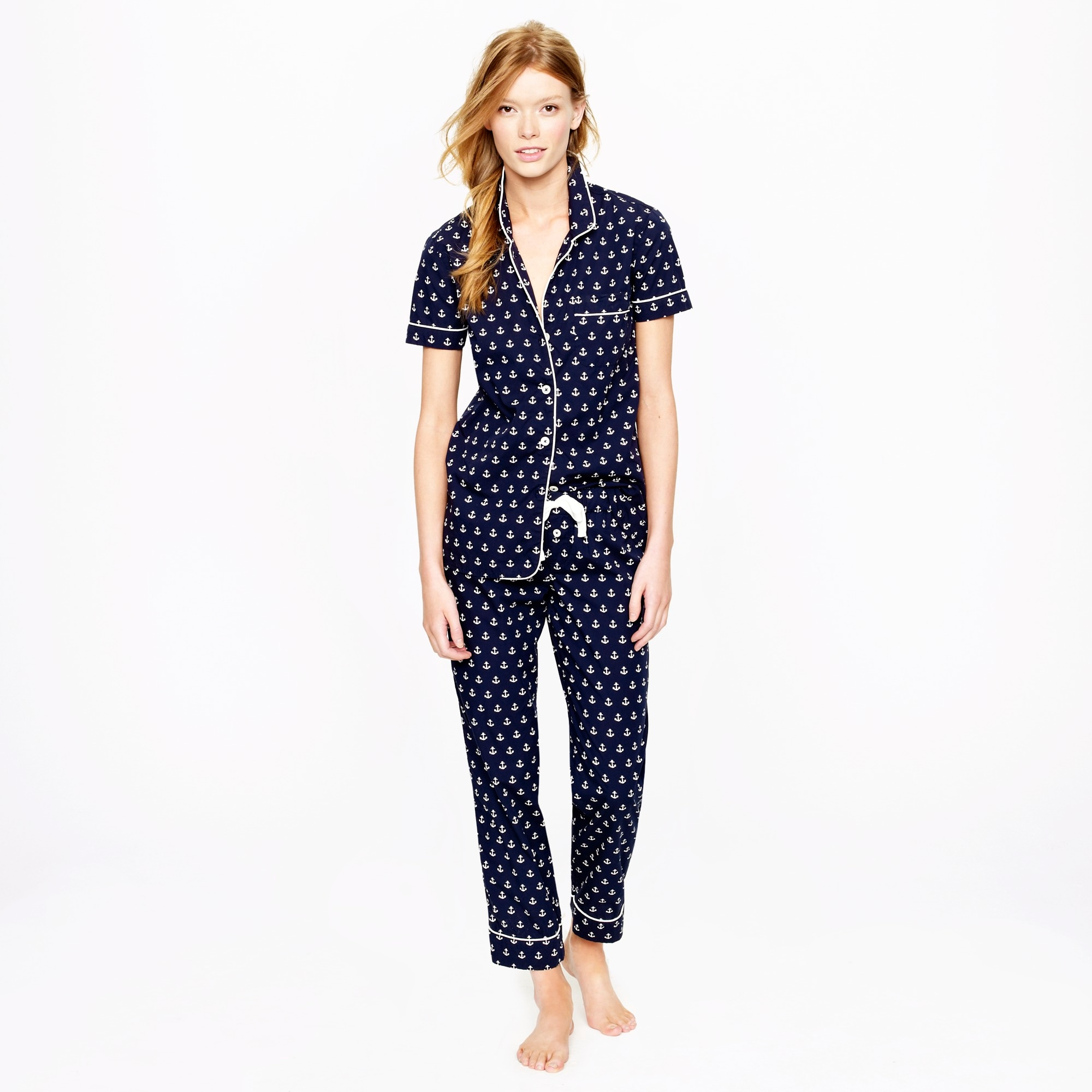 Vintage short-sleeve pajama set in anchor print