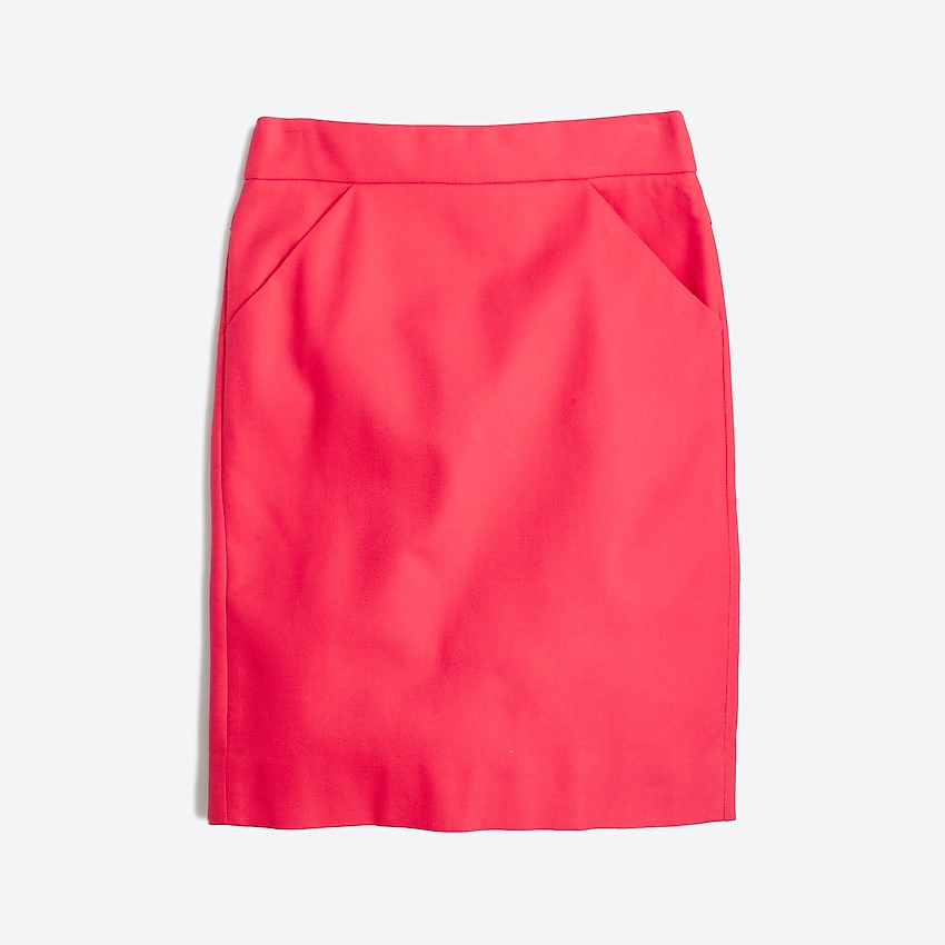 j.crew factory: pencil skirt in double-serge cotton, right side, view zoomed