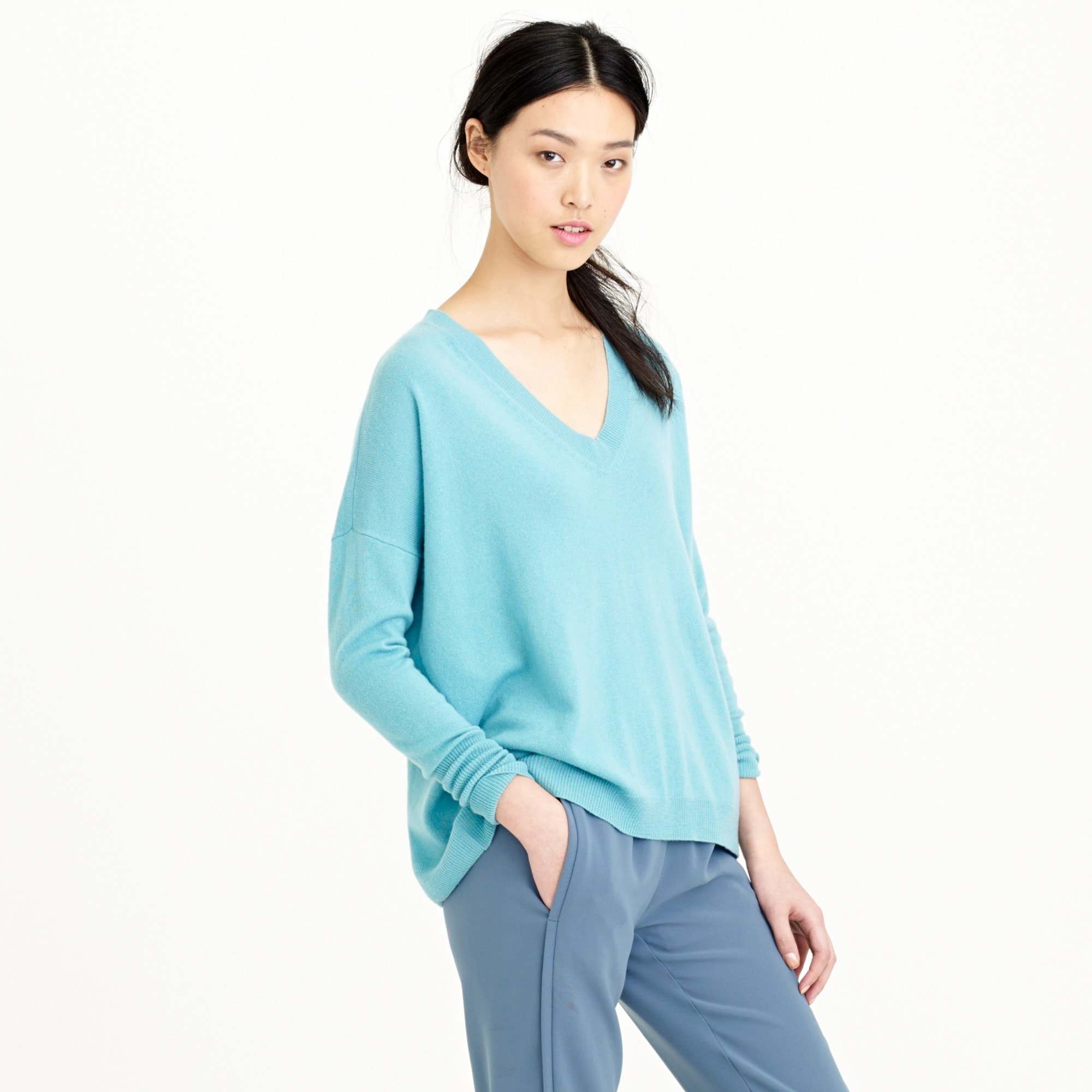 italian cashmere boyfriend v-neck sweater : women pullovers