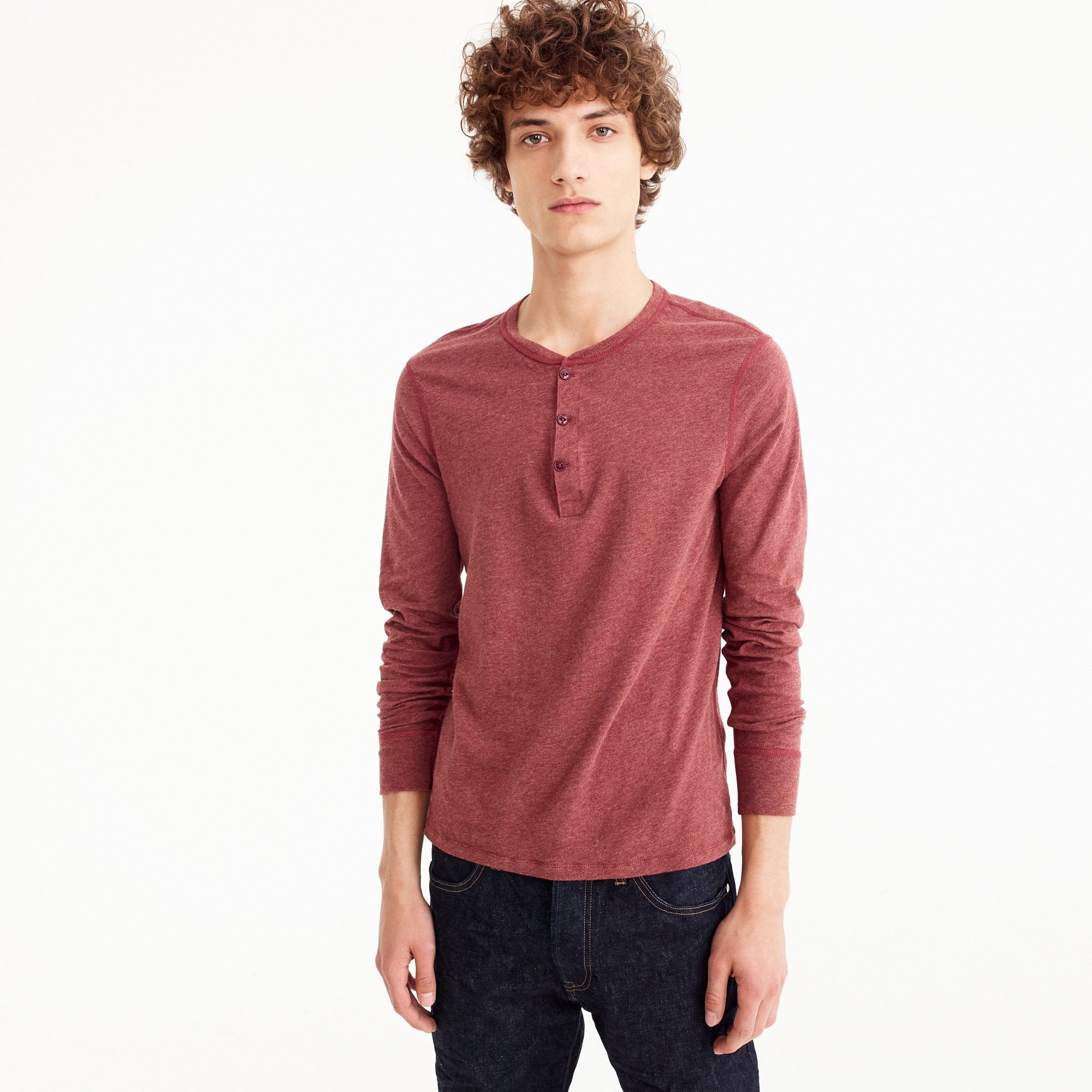 Slim broken-in henley men stock-up shop c