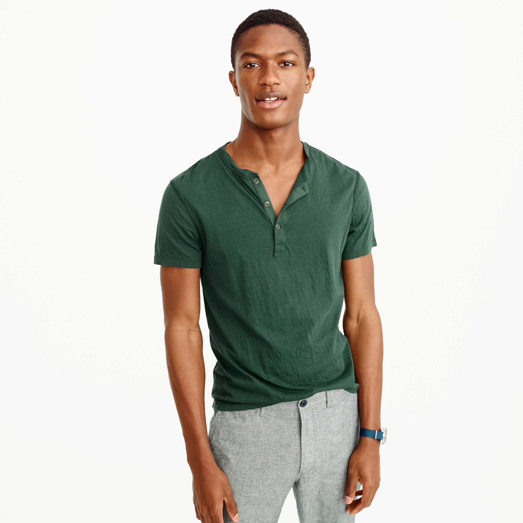 Slim broken-in short-sleeve henley