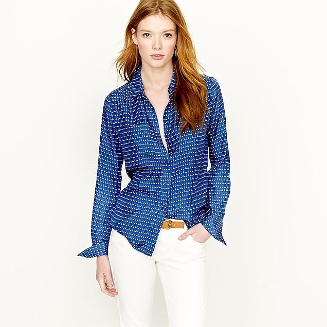 Blythe blouse in silk pebble dot