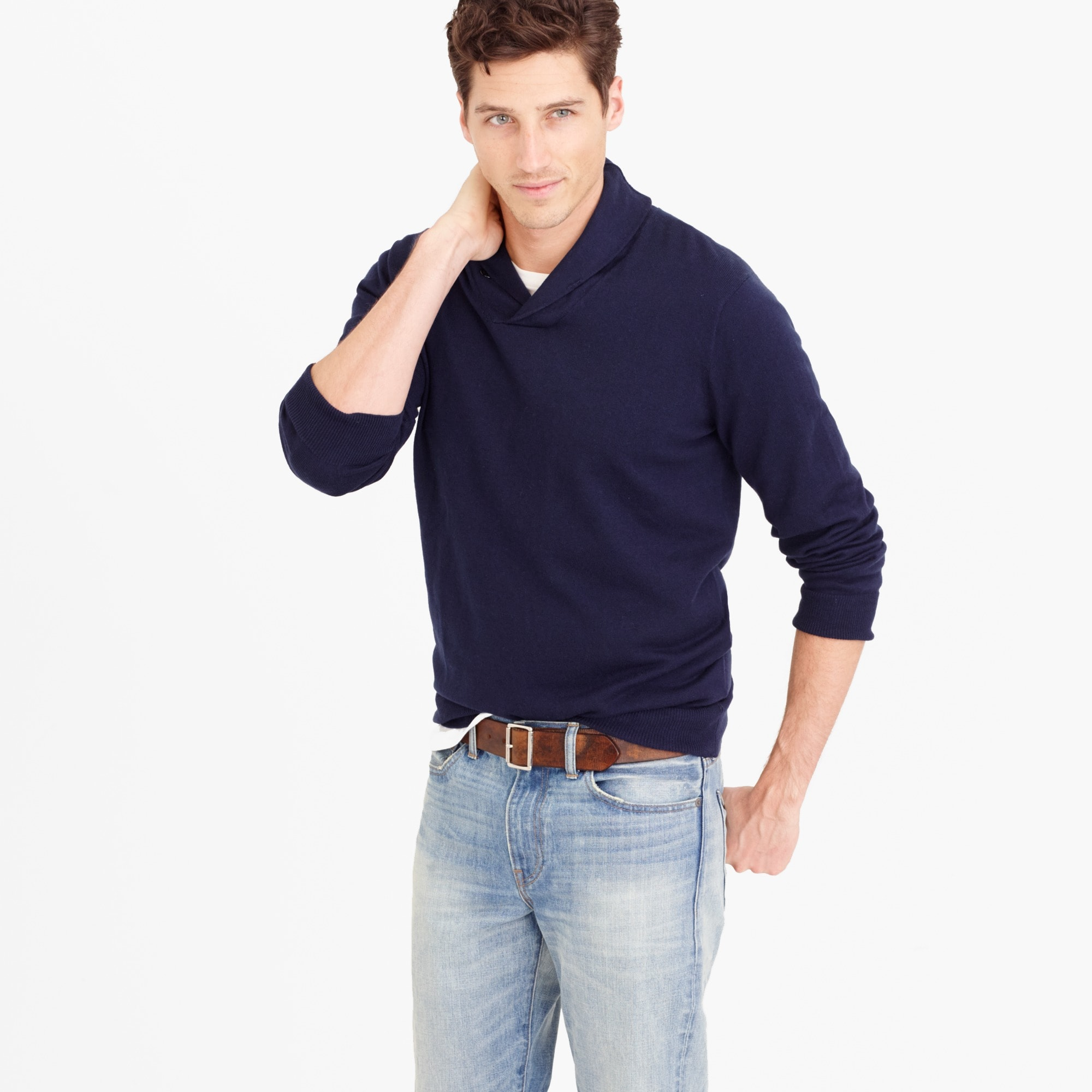 cotton-cashmere shawl-collar sweater : men's sweaters
