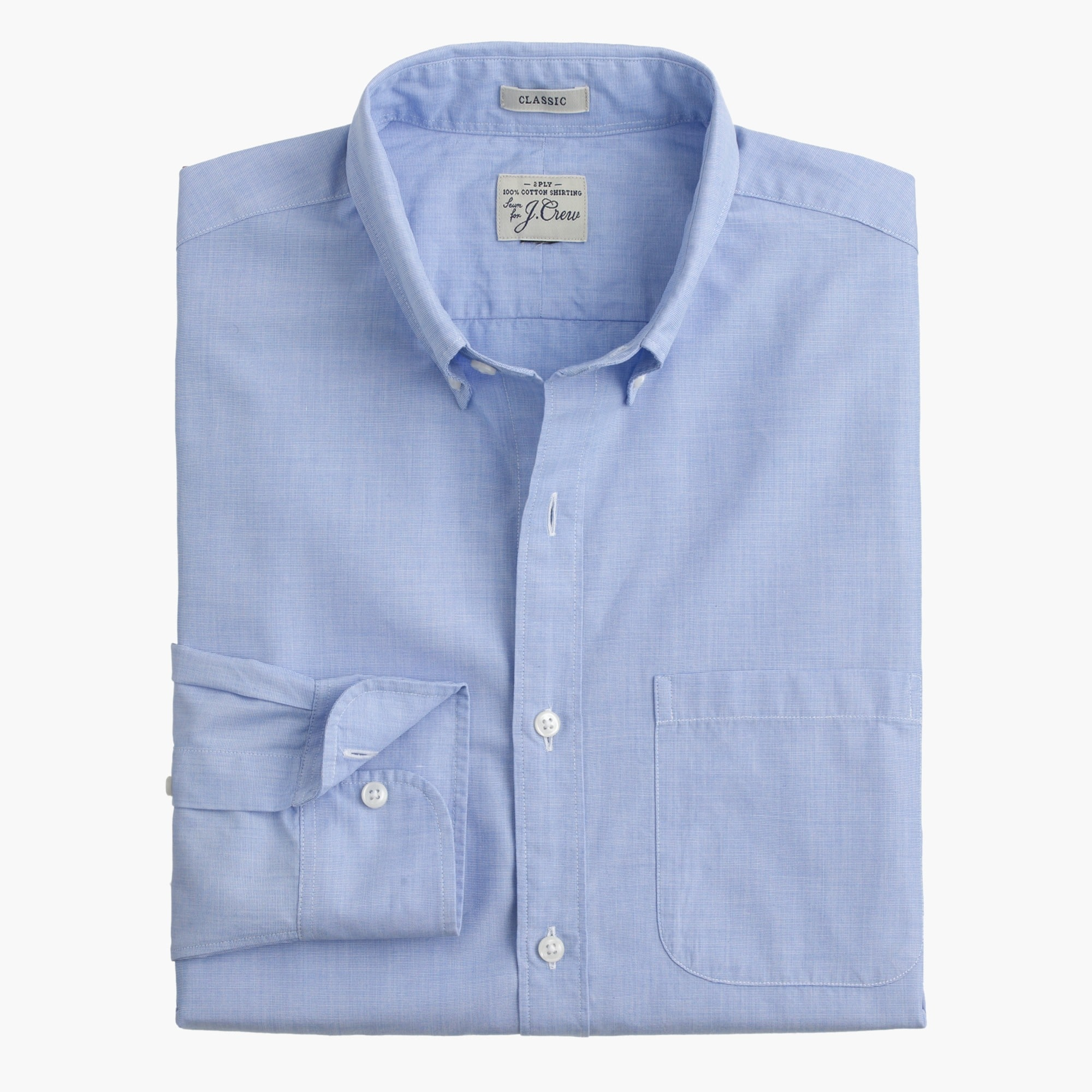 men's slim secret wash shirt in end-on-end cotton - men's shirts