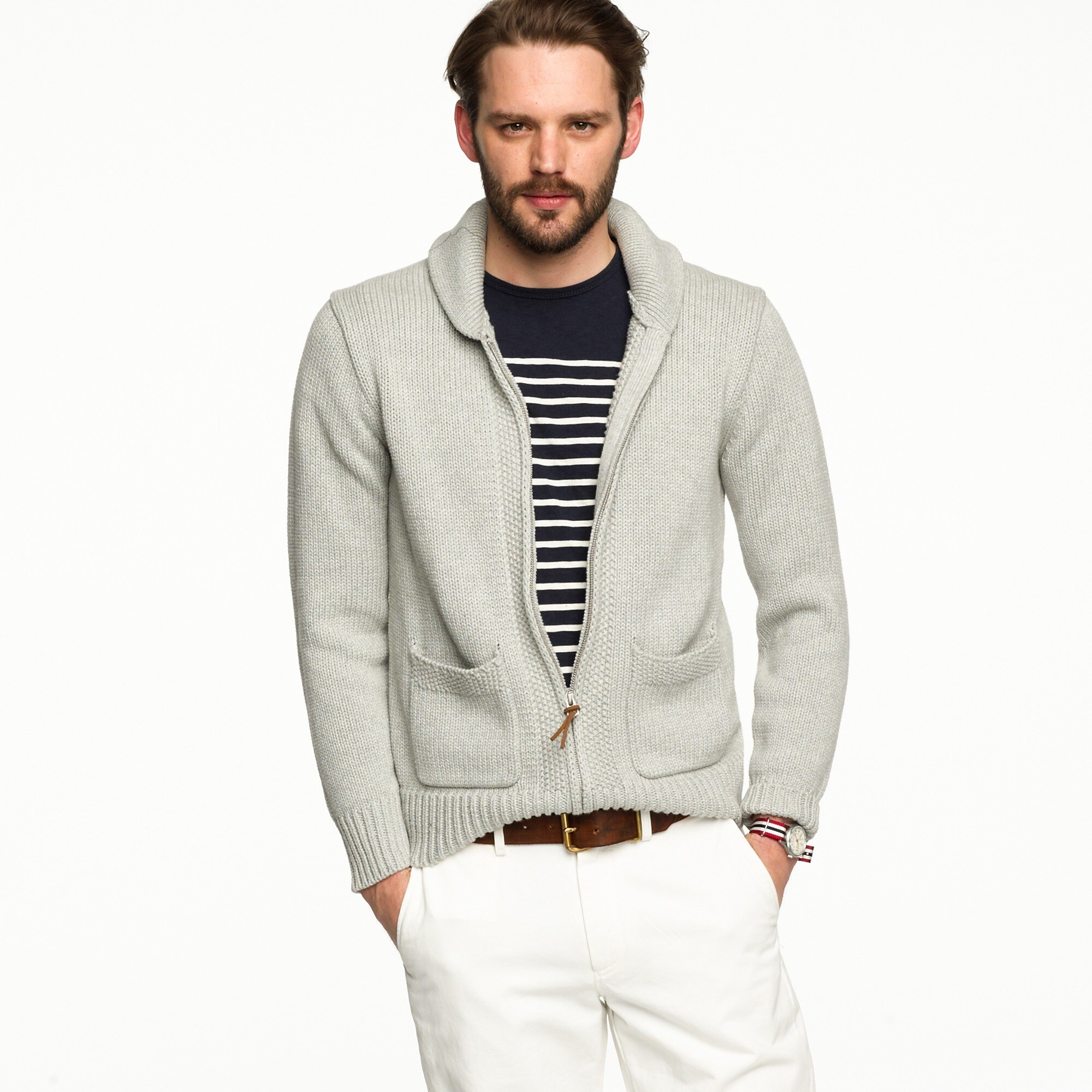 Patch-pocket cardigan