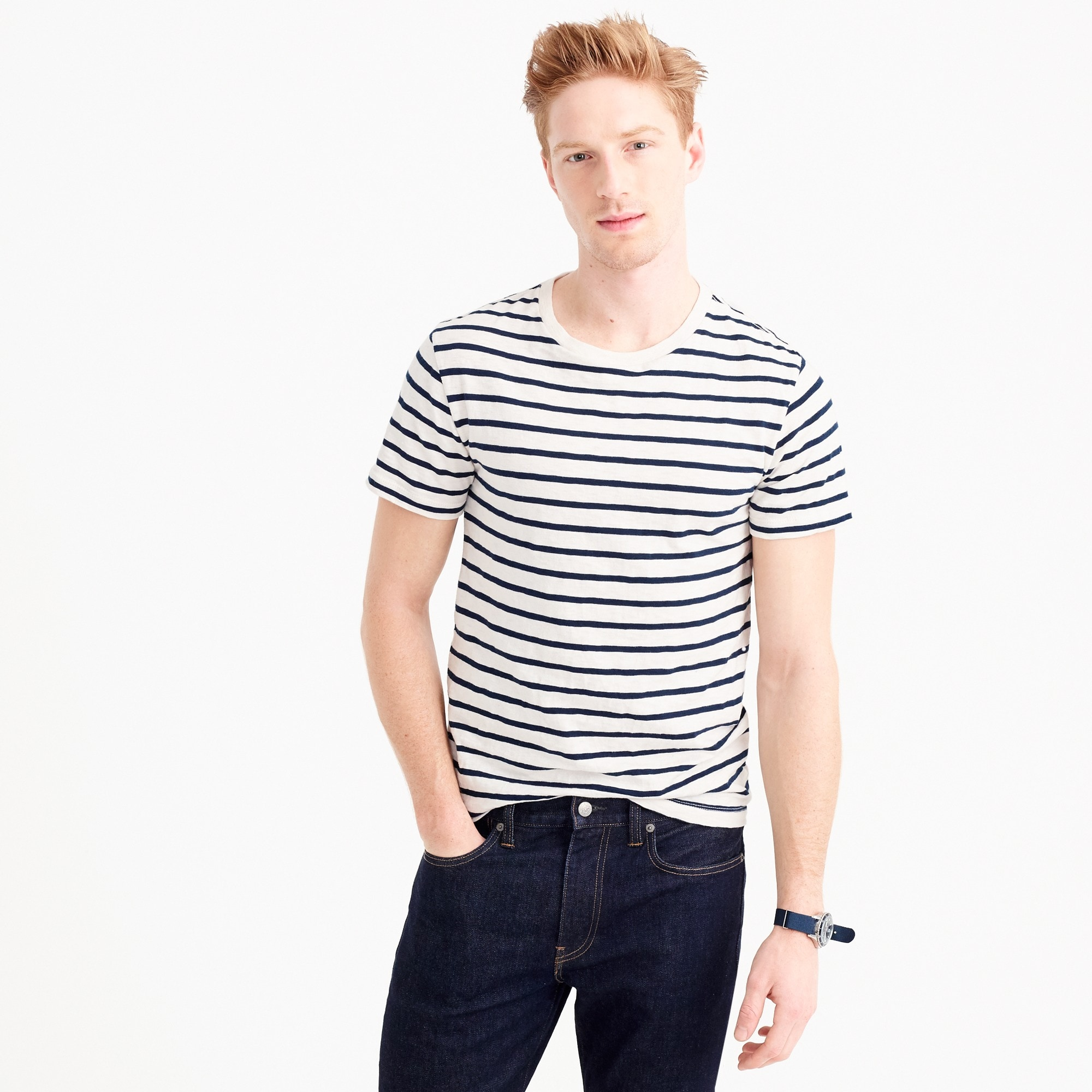 Slub cotton deck-striped T-shirt men t-shirts & polos c