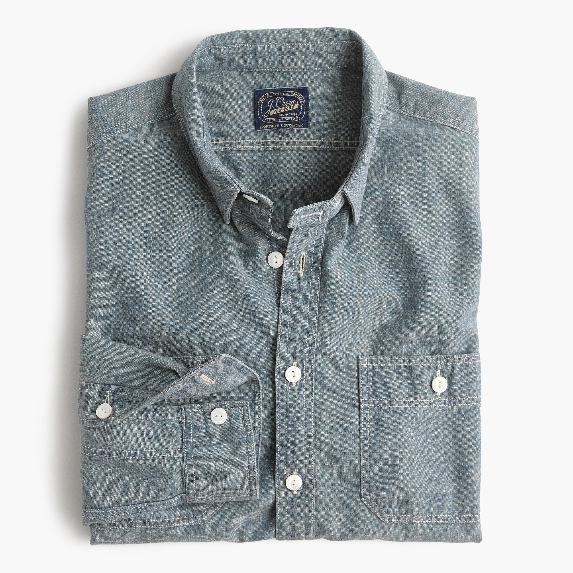 mens Slim selvedge Japanese chambray utility shirt