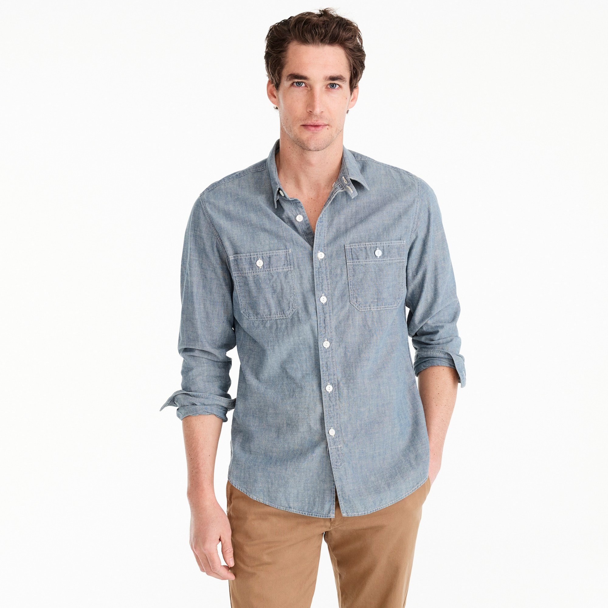 Selvedge Japanese chambray utility shirt men denim c