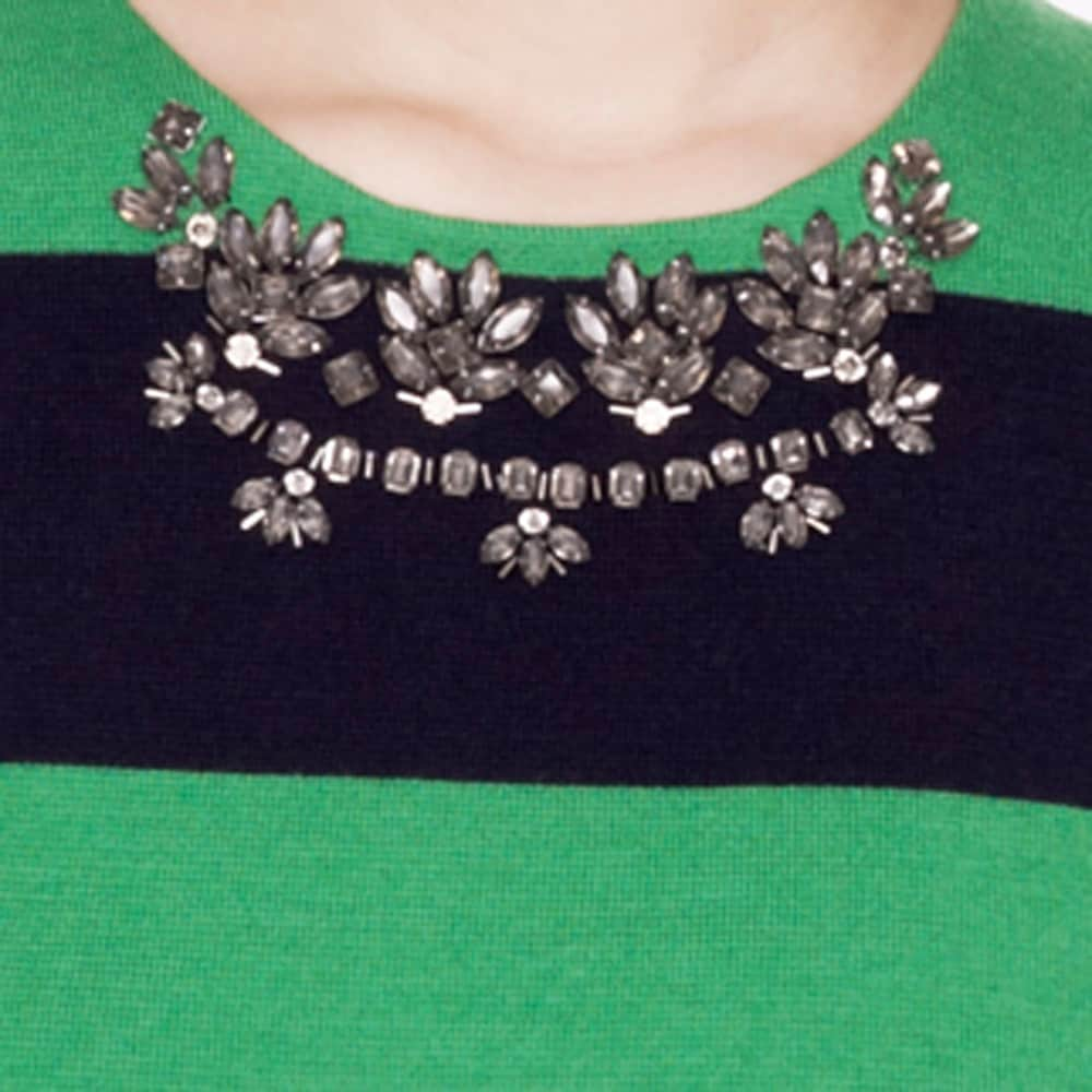 Crystal necklace sweater