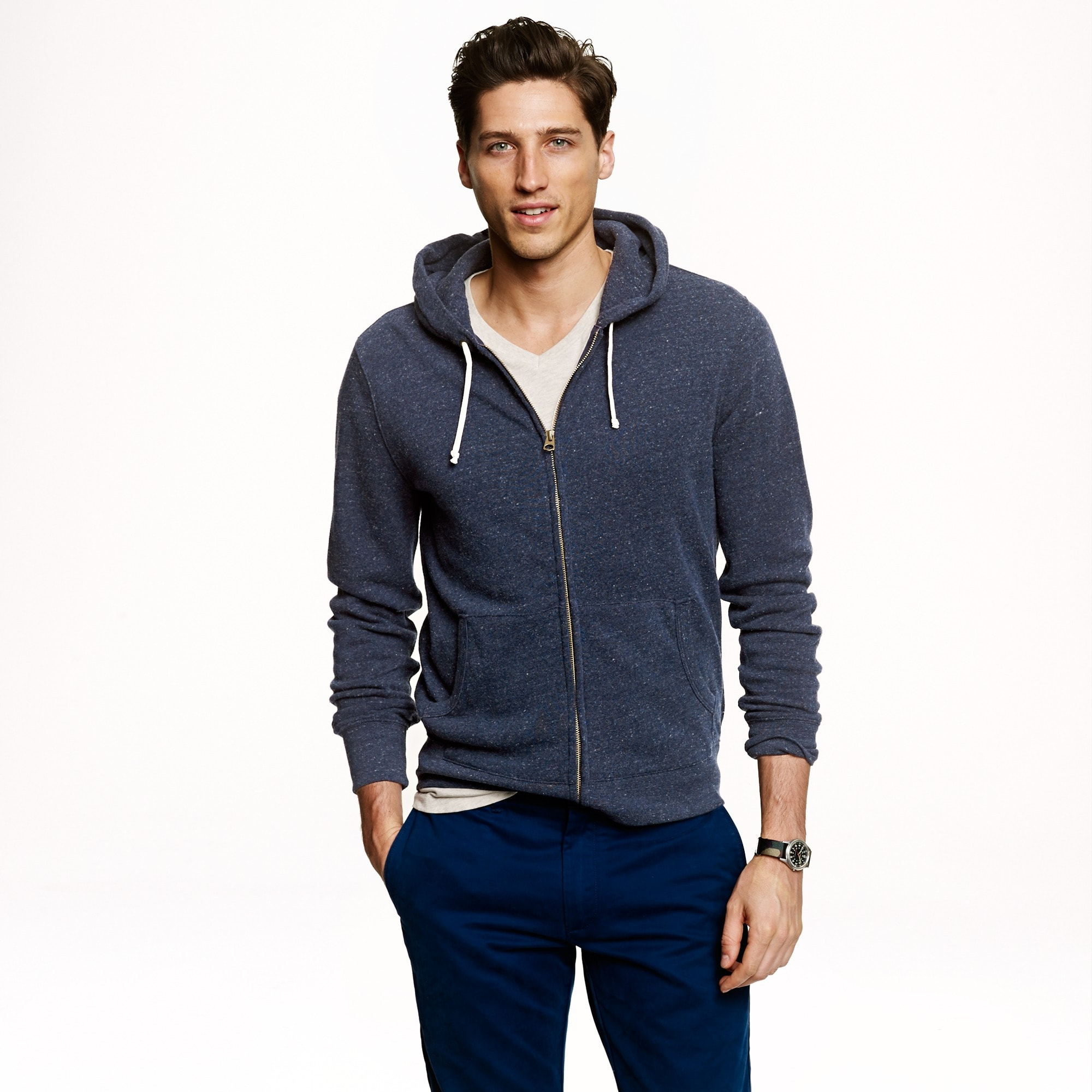 men's tall brushed fleece zip hoodie - men's knits