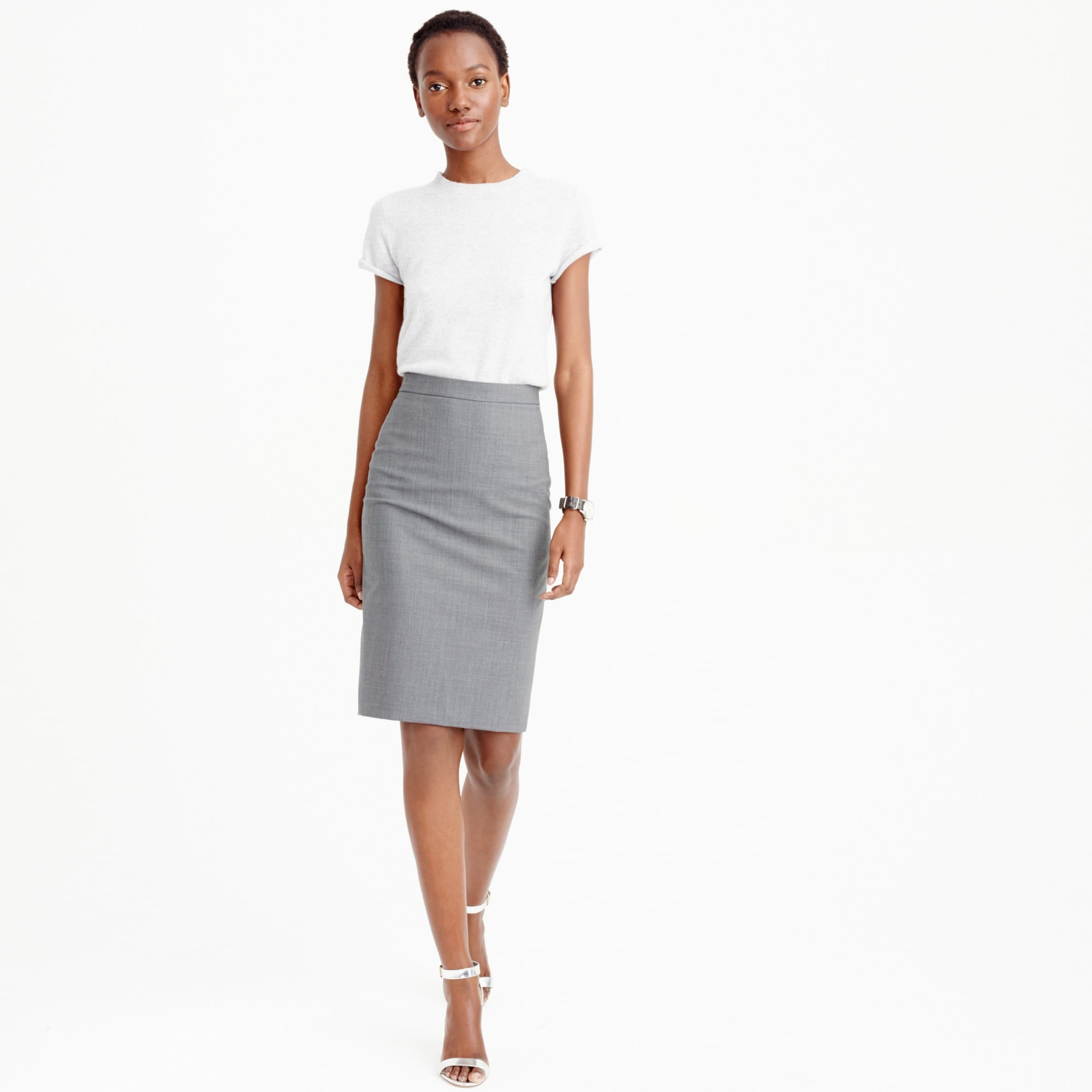 Petite pencil skirt in Italian stretch wool women petite c