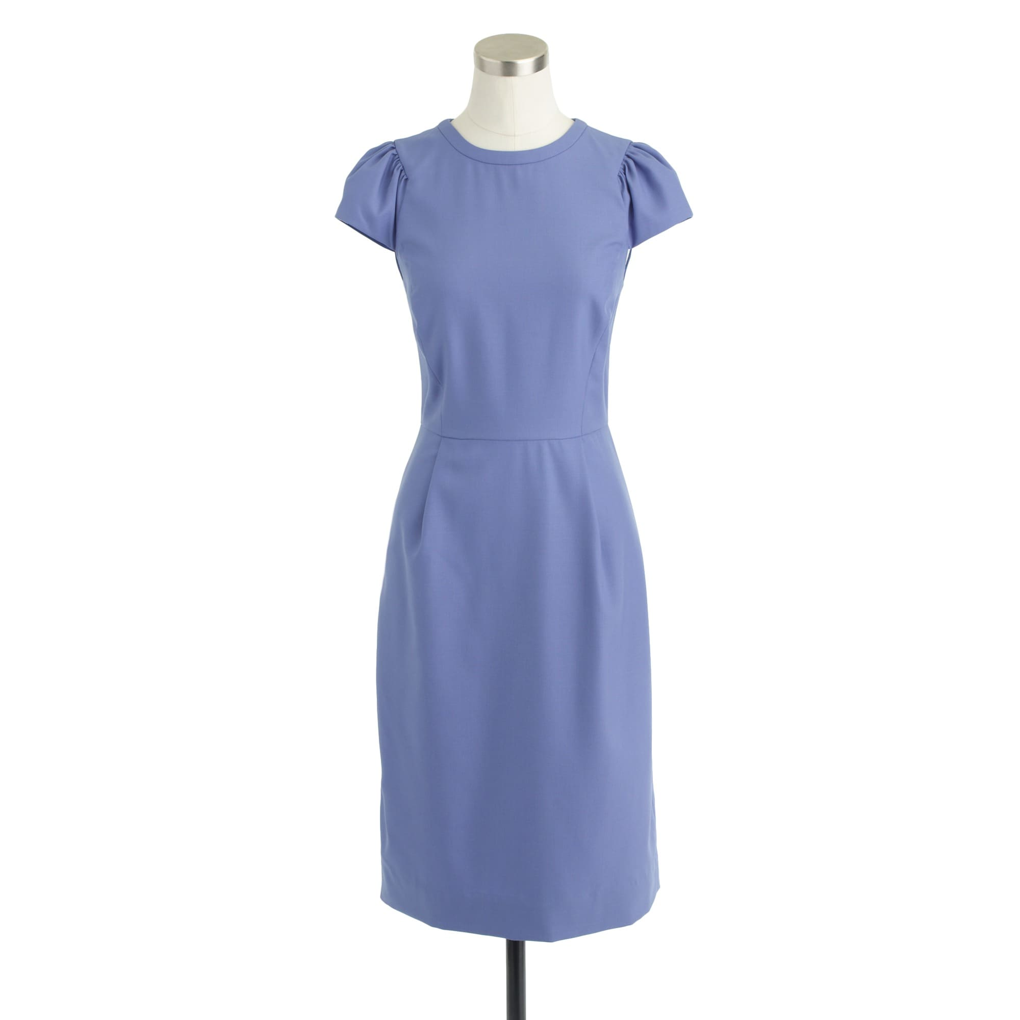 Puff-sleeve dress in Super 120s