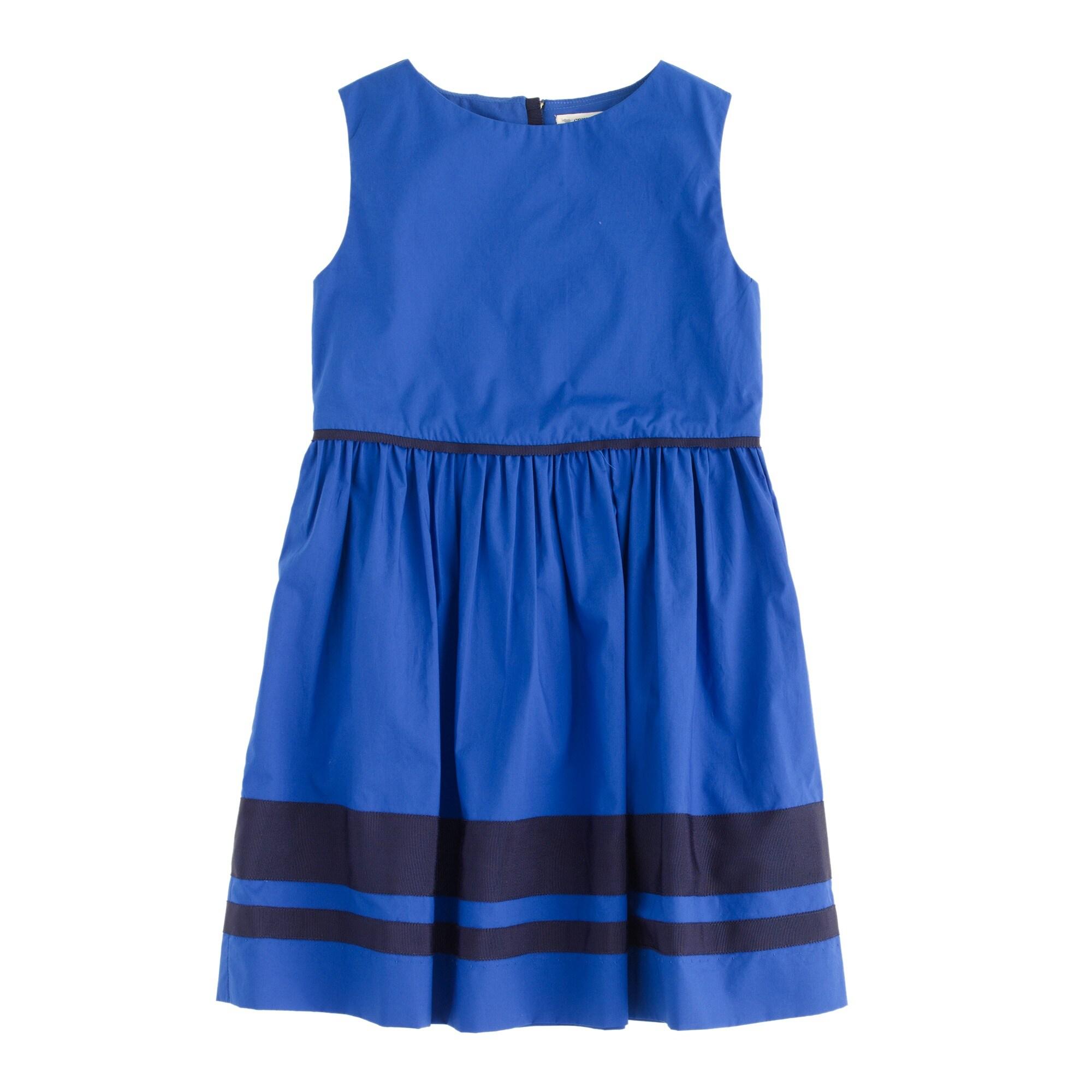 Girls' grosgrain stripe dress