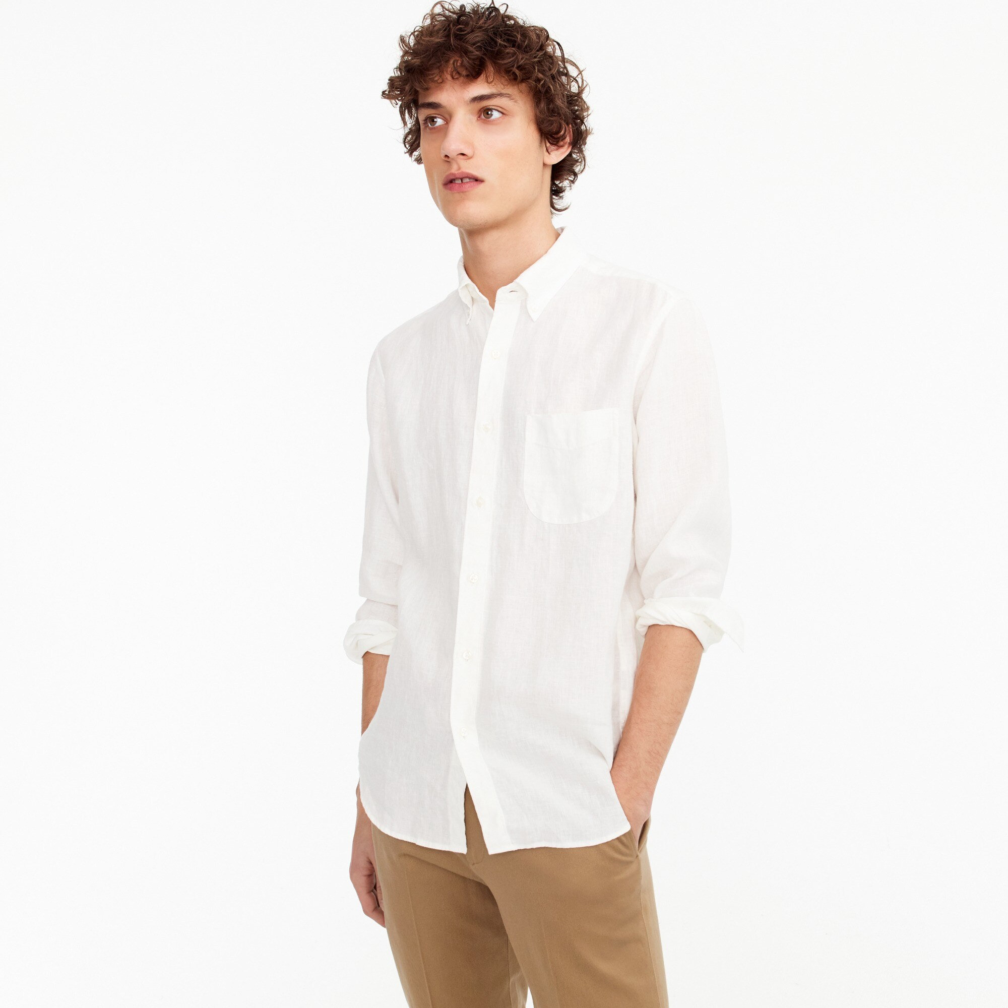 Irish linen shirt in solid men new arrivals c