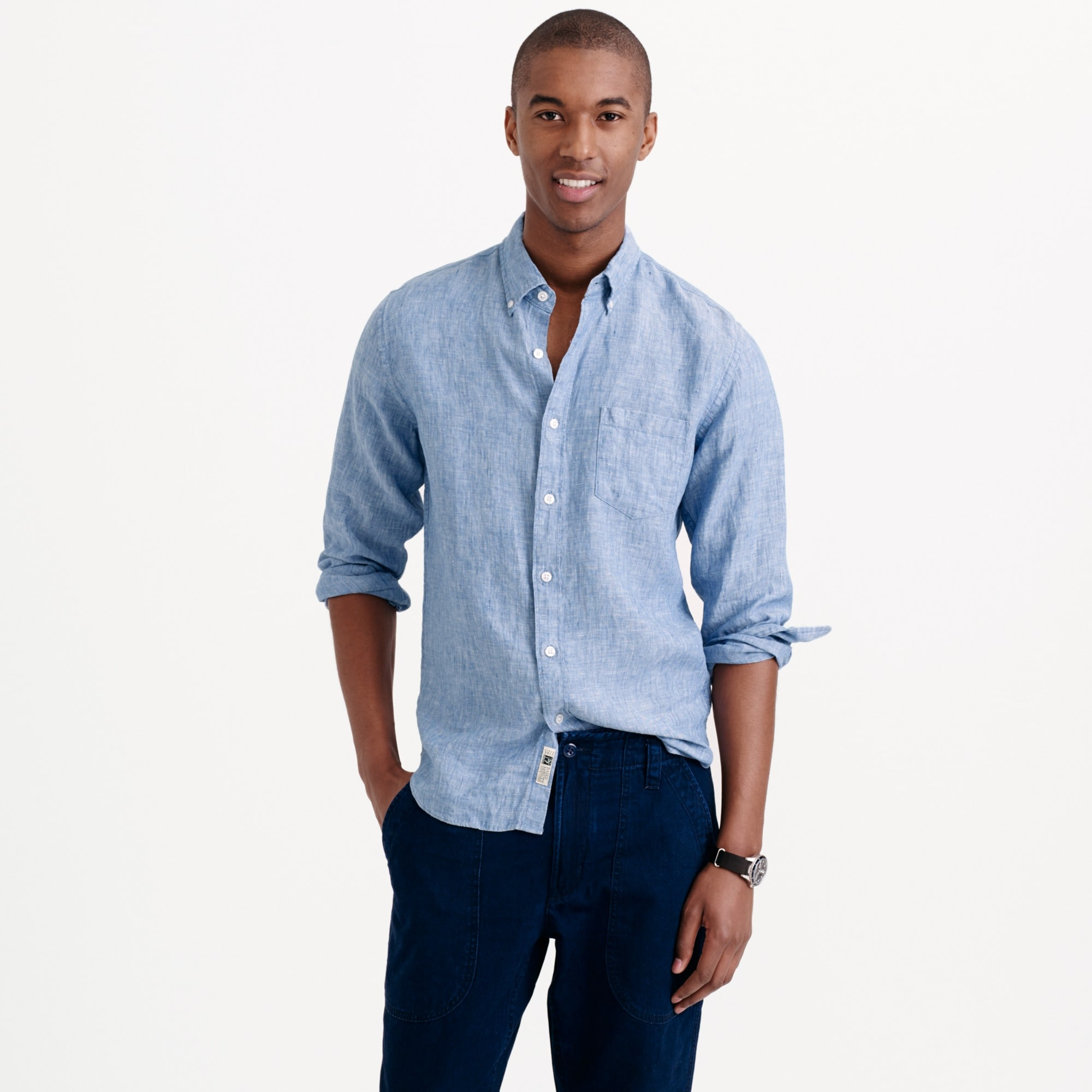 men's tall délavé irish linen shirt - men's woven shirts