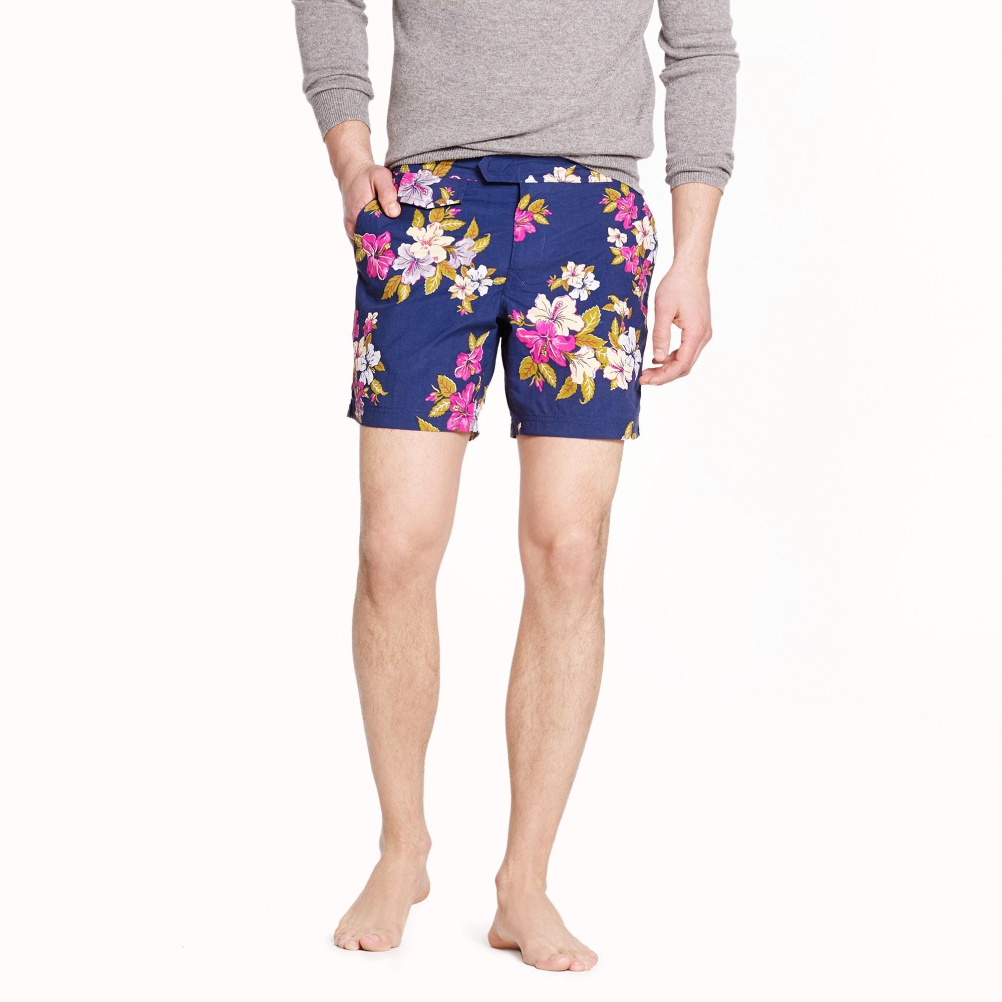"Image 1 for 6.5"" tab swim short in Hawaiian floral"