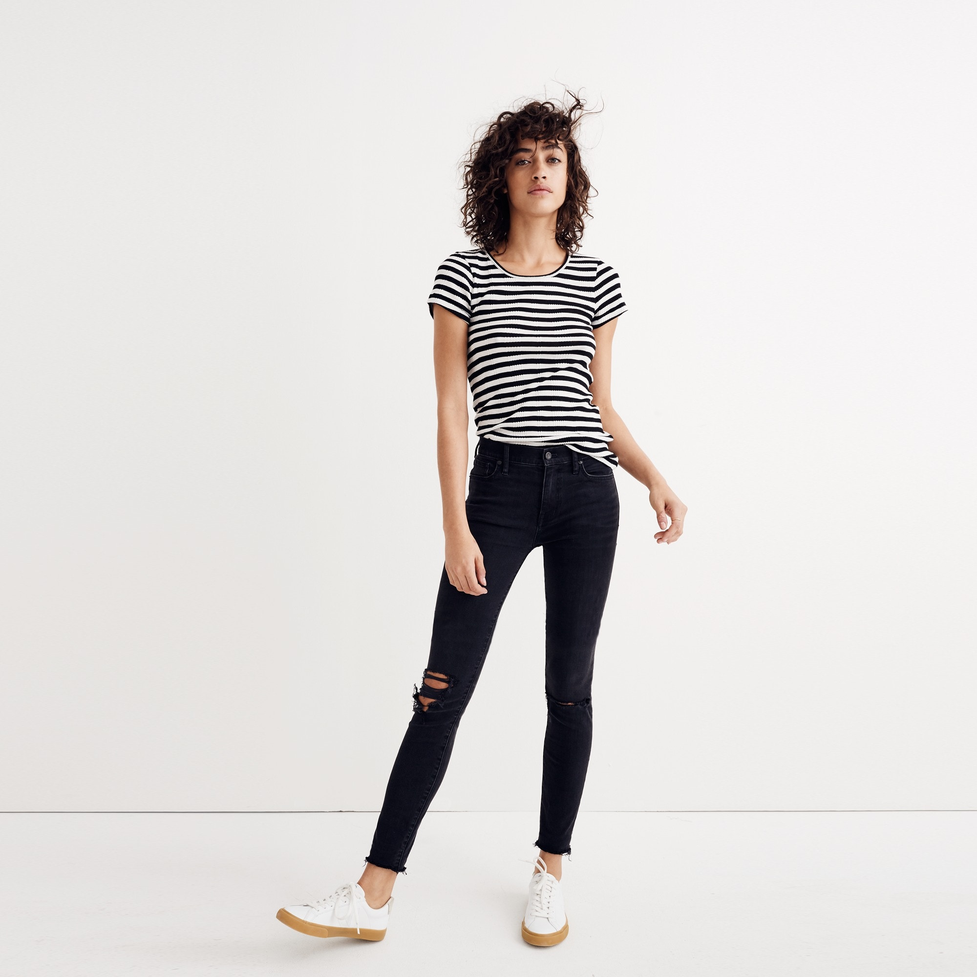 "Madewell 9"" high-rise skinny jean in black sea women j.crew in good company c"