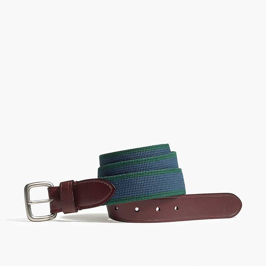 j.crew factory: striped fabric belt for men, right side, view zoomed