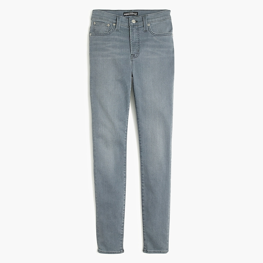 """factory: 9"""" high-rise skinny jean in ash grey wash for women, right side, view zoomed"""