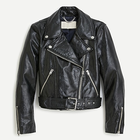 Jcrew Collection cropped motorcycle jacket in crackled leather