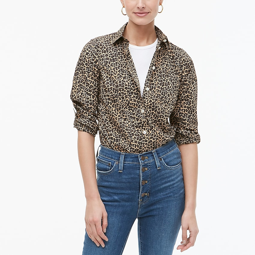 j.crew factory: button-up leopard shirt in signature fit for women, right side, view zoomed