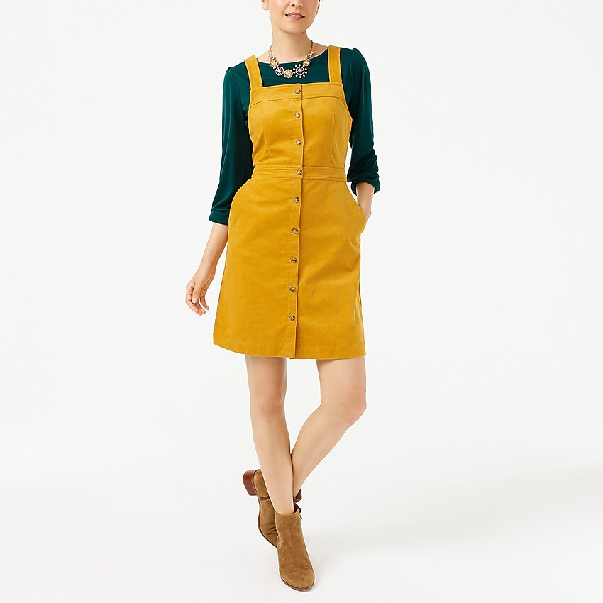 j.crew factory: corduroy button-front overall dress, right side, view zoomed