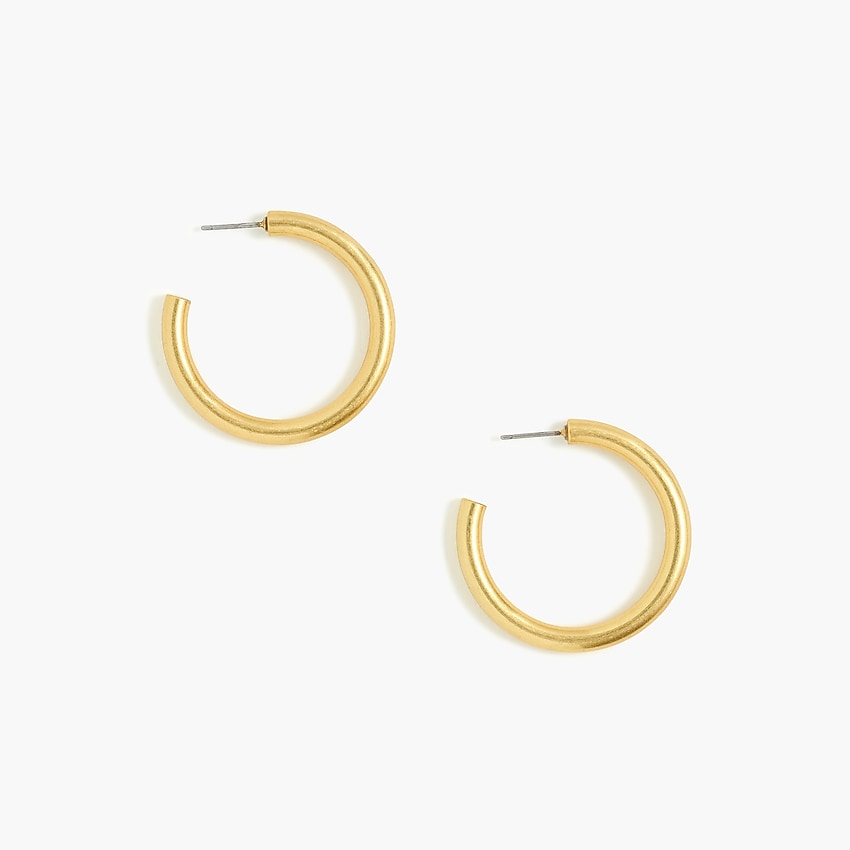 j.crew factory: thick hoop earrings for women, right side, view zoomed