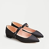 Pointy-toe satin Mary Jane flats