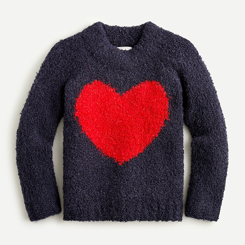 j.crew: girls' heart crewneck sweater in bubble yarn for girls, right side, view zoomed